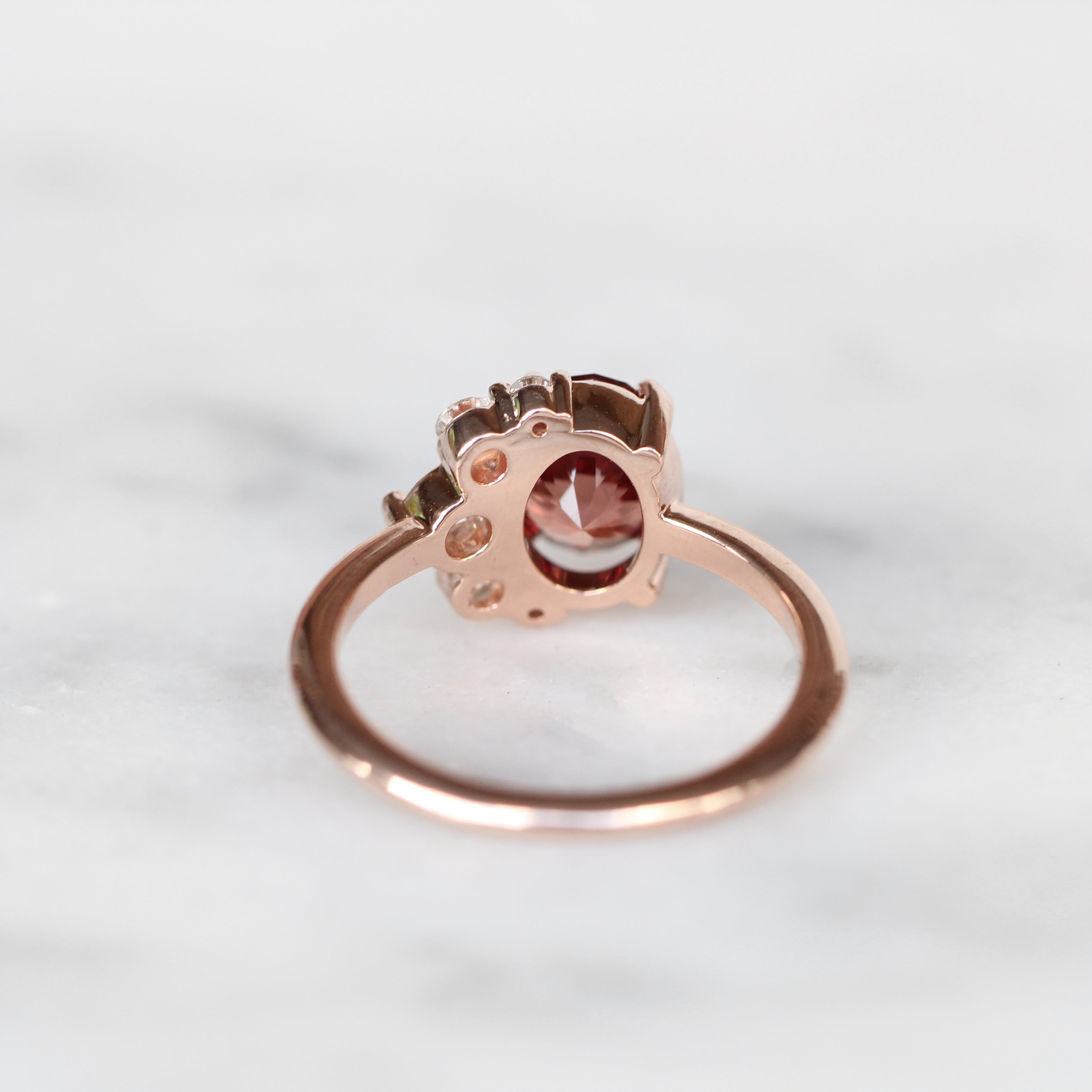 Carell ring with 2.1 ct Zircon and Diamonds in 10k rose gold - ready to size and ship - Celestial Diamonds ® by Midwinter Co.