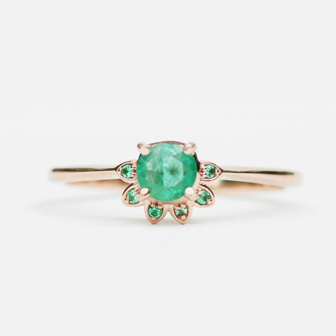 Caren - Emerald half halo floral in rose gold - ready to size and ship