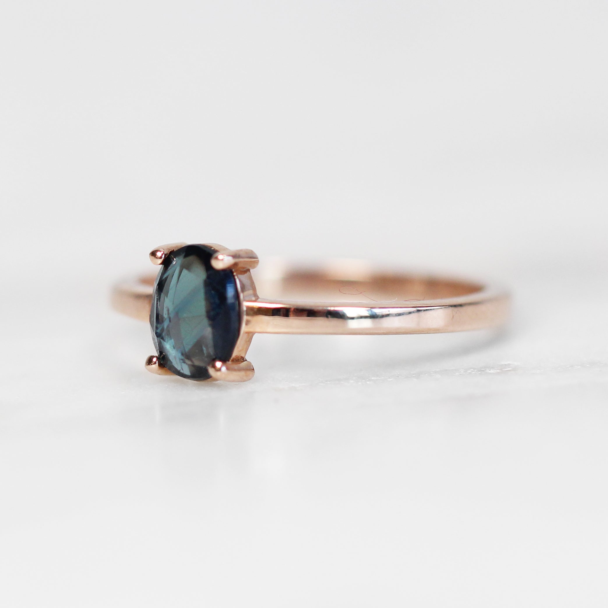 Carly Ring with a Royal Blue Sapphire in 10k Rose Gold - Ready to Size and Ship - Celestial Diamonds ® by Midwinter Co.