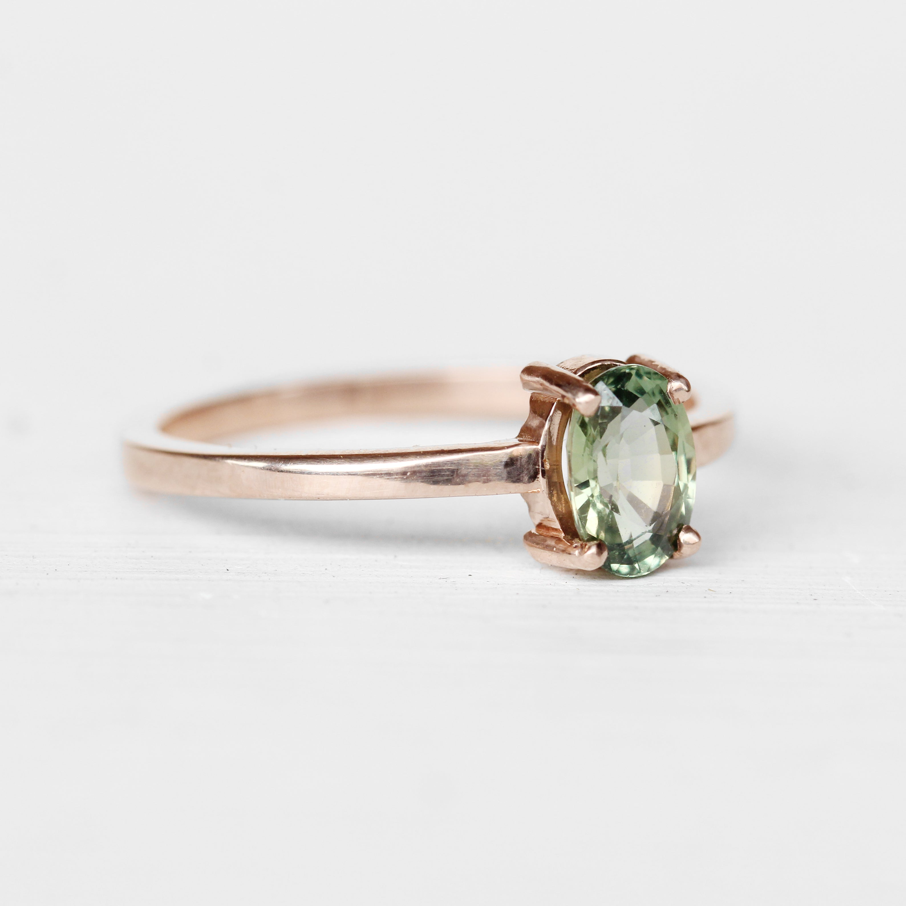 Carly Ring with a Moss Sea Green Blue Sapphire in 10k Rose Gold - Ready to Size and Ship - Celestial Diamonds ® by Midwinter Co.