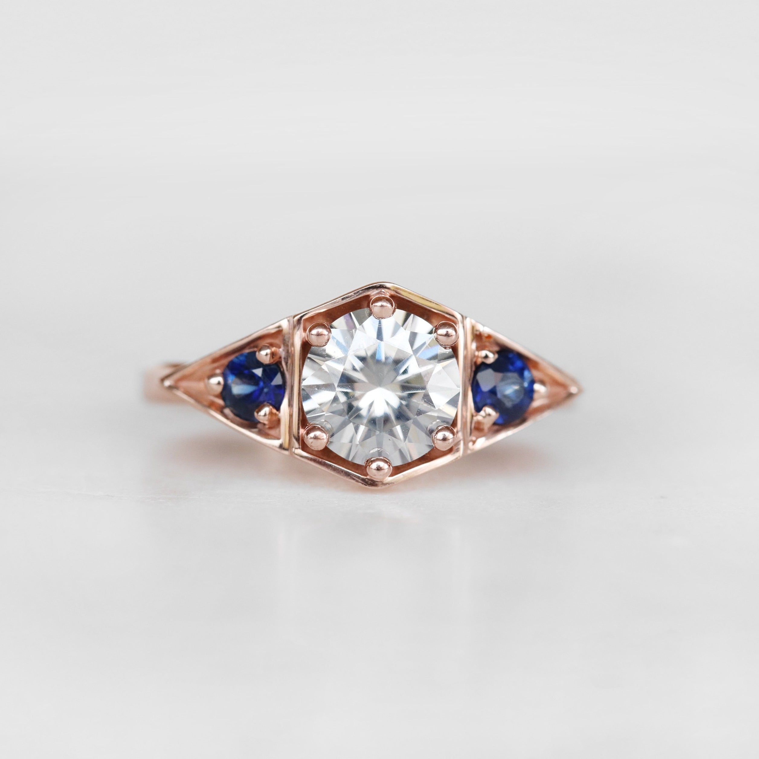 Cassia Ring with Gray Moissanite and Blue Sapphire Accents in 10k Rose Gold - Ready to Size and Ship - Midwinter Co. Alternative Bridal Rings and Modern Fine Jewelry