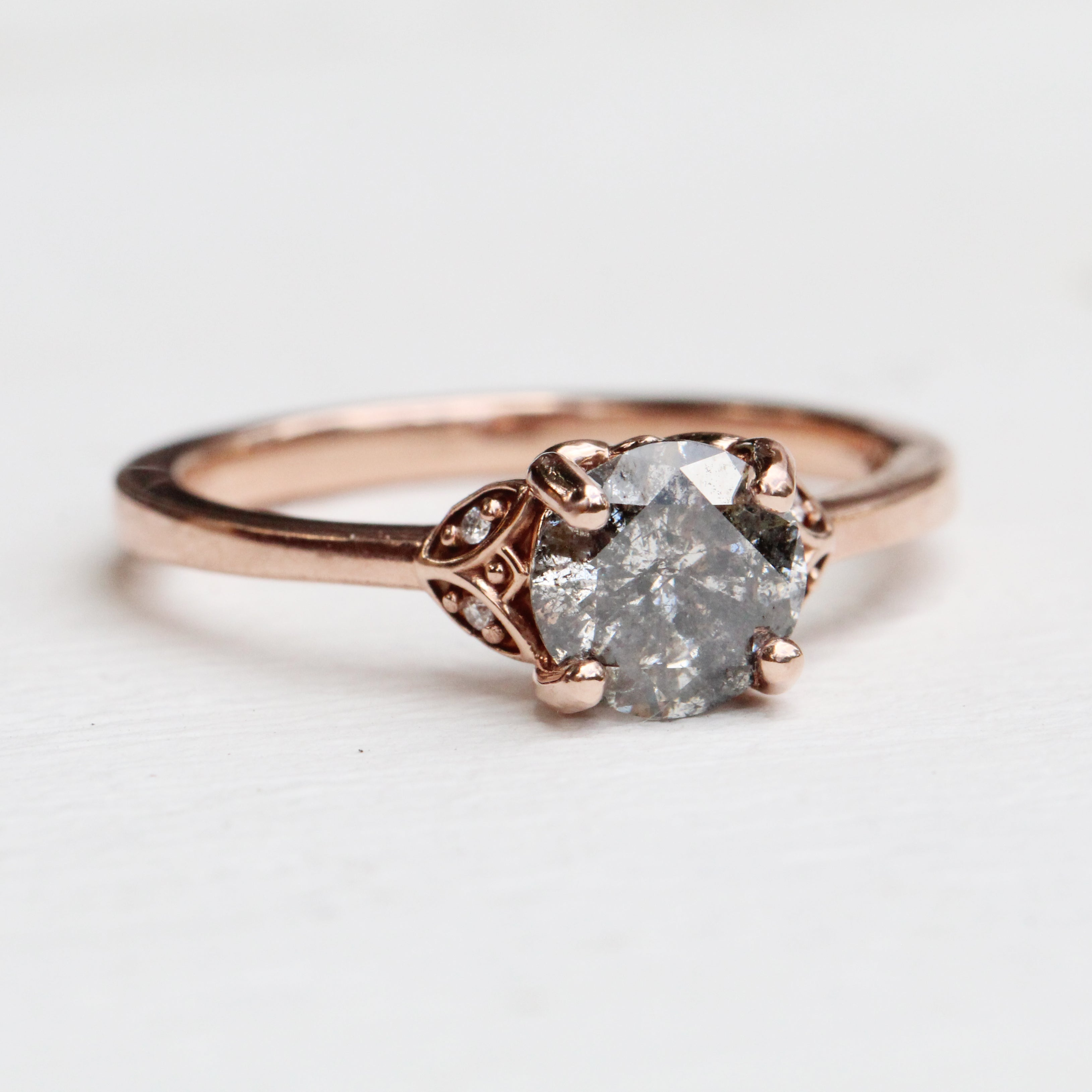 Cecelia Ring with 1.12 Carat Celestial Diamond in 10k Rose Gold - Ready to Size and Ship - Salt & Pepper Celestial Diamond Engagement Rings and Wedding Bands  by Midwinter Co.