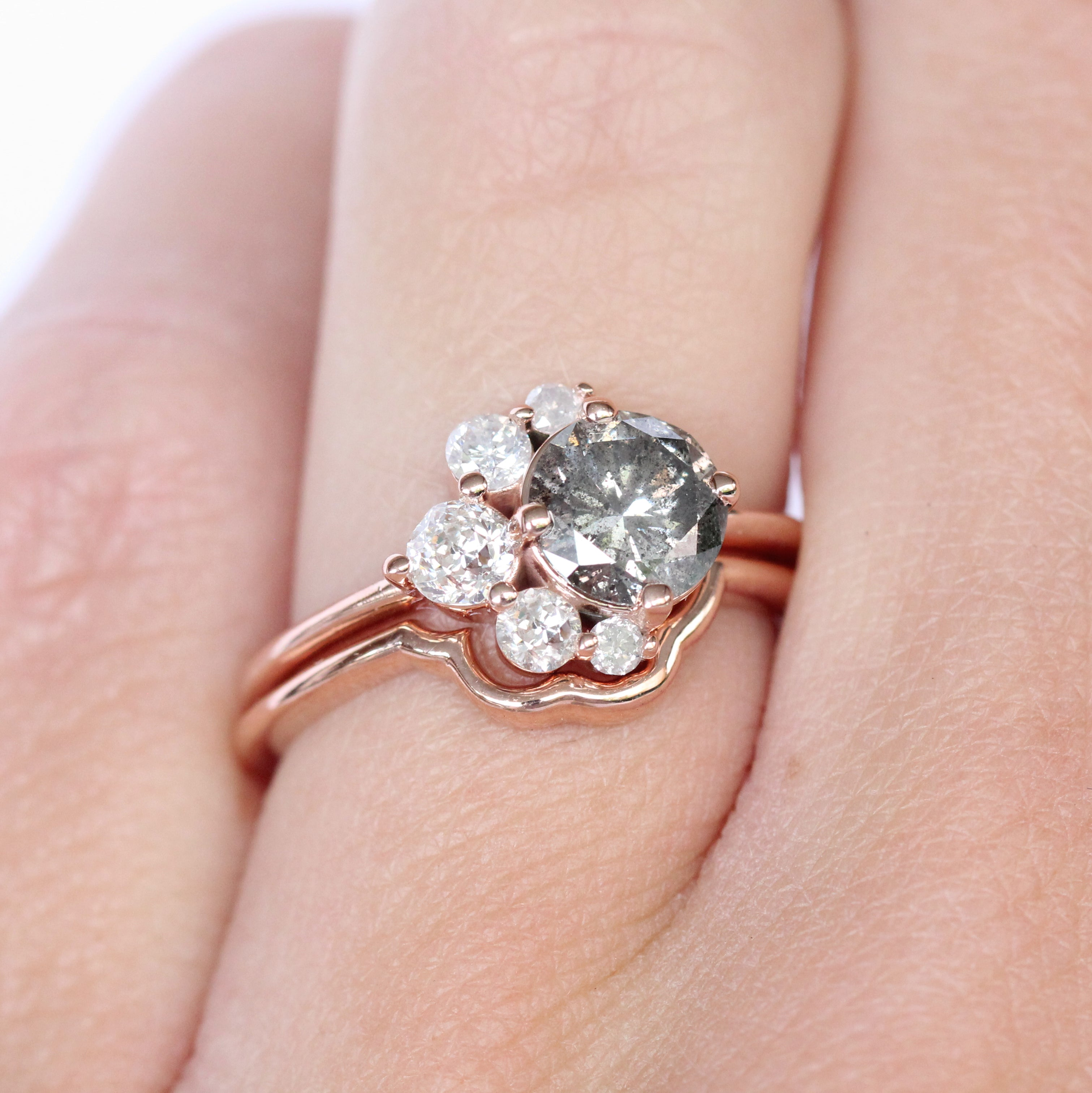 Carell Ring + Band with a 1.25 carat Celestial Diamond in 10k Rose Gold - Ready to Size and Ship - Celestial Diamonds ® by Midwinter Co.
