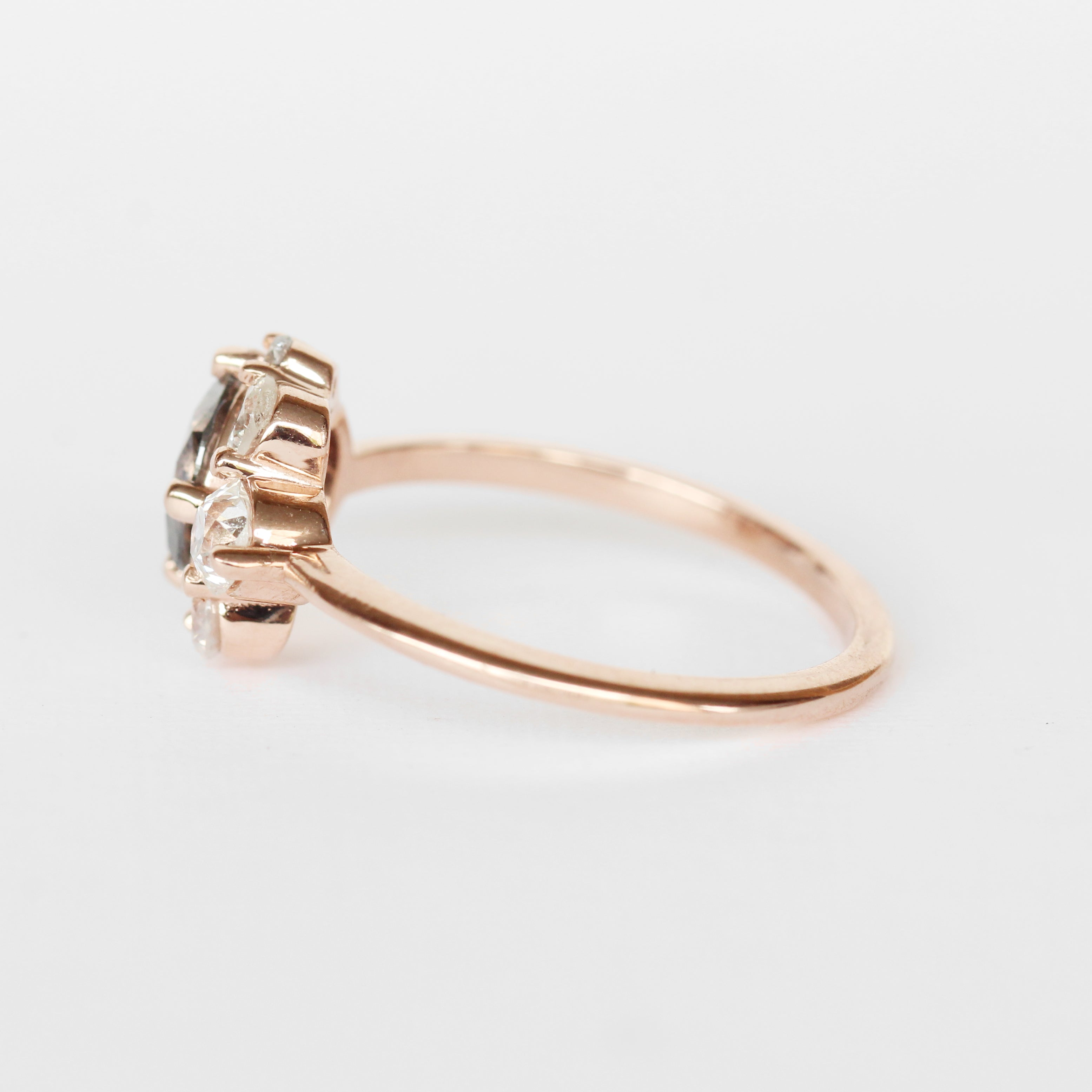 Carell Ring + Band with a 1.25 carat Celestial Diamond in 10k Rose Gold - Ready to Size and Ship
