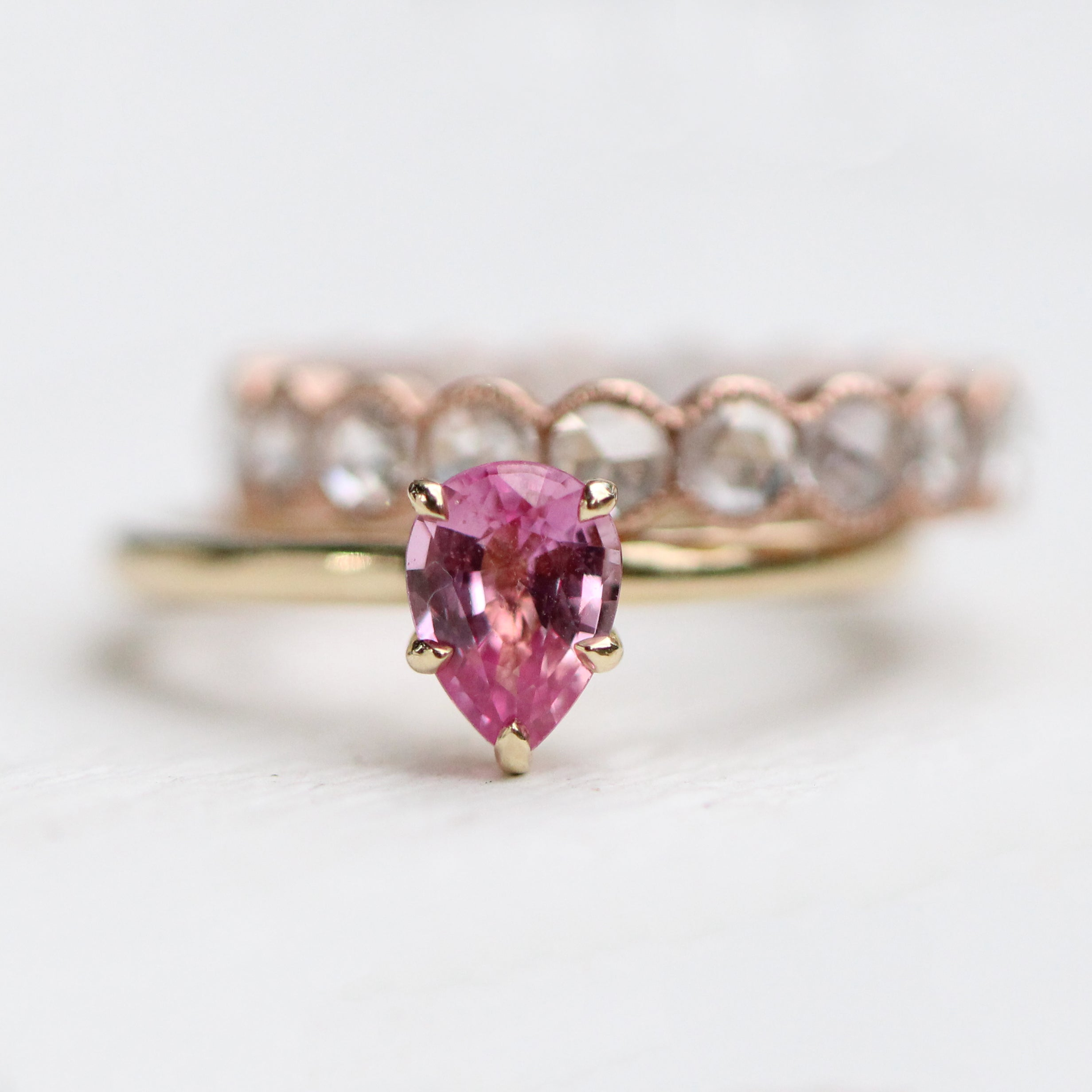 Charlotte Ring with a .85 ct pink Sapphire in 14k Yellow Gold - Ready to Size and Ship - Midwinter Co. Alternative Bridal Rings and Modern Fine Jewelry
