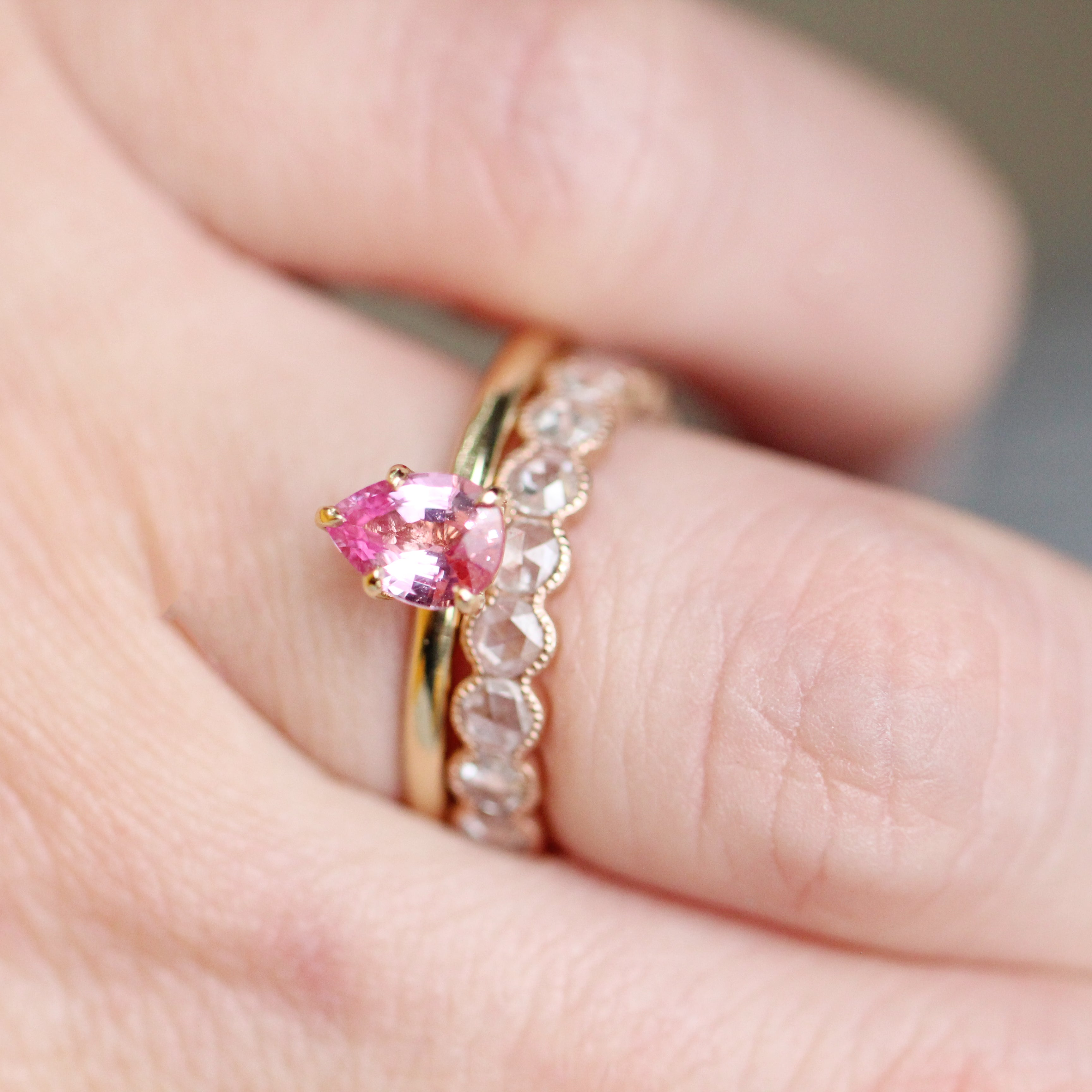 Charlotte Ring with a .85 ct pink Sapphire in 14k Yellow Gold - Ready to Size and Ship - Salt & Pepper Celestial Diamond Engagement Rings and Wedding Bands  by Midwinter Co.