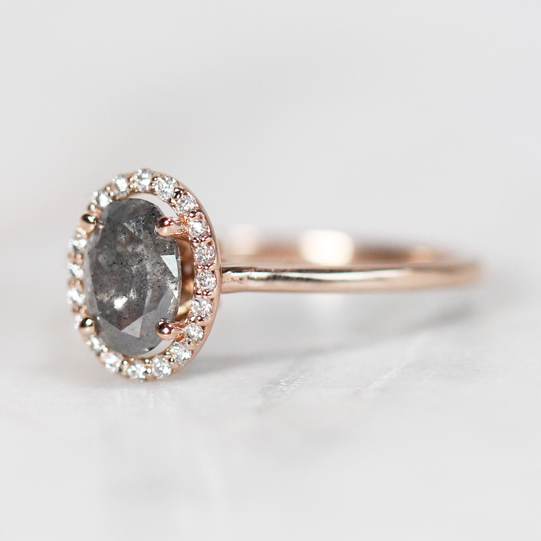 Cheryl Ring with 1.00 Carat Oval Celestial Diamond and White Diamond Halo in 14k Rose Gold