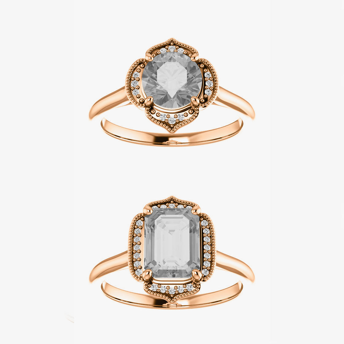 Clementine Setting - Salt & Pepper Celestial Diamond Engagement Rings and Wedding Bands  by Midwinter Co.