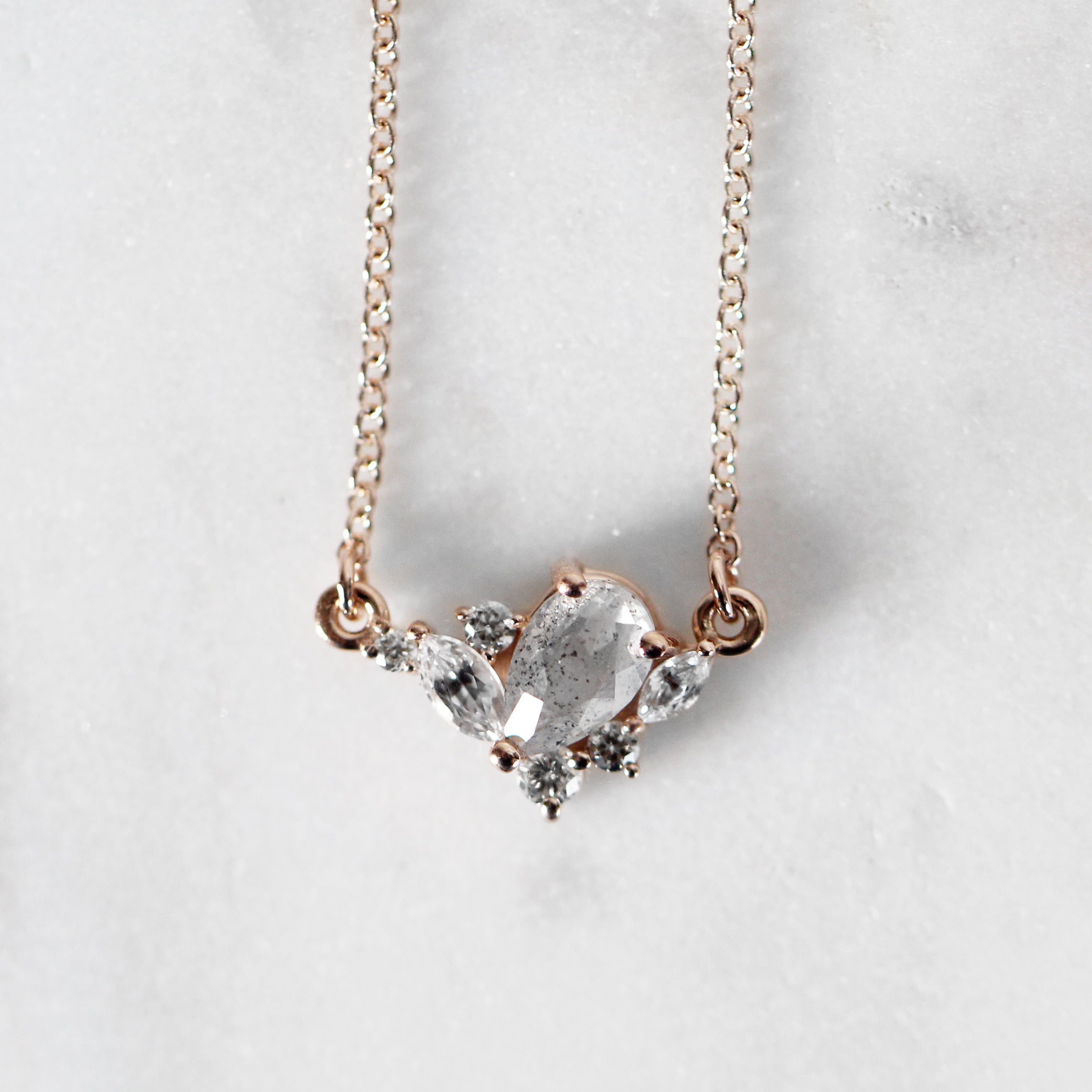 Carrie Cluster Necklace with white diamonds in 14k Rose Gold