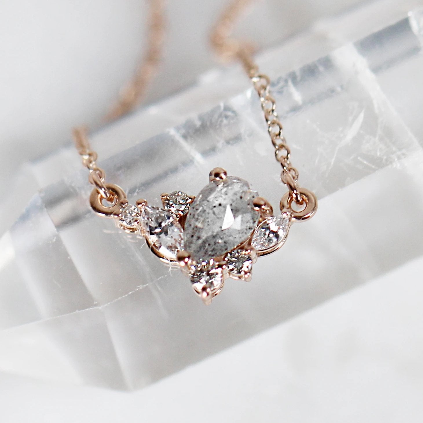 Carrie Cluster Necklace with white diamonds in 14k Rose Gold - Salt & Pepper Celestial Diamond Engagement Rings and Wedding Bands  by Midwinter Co.