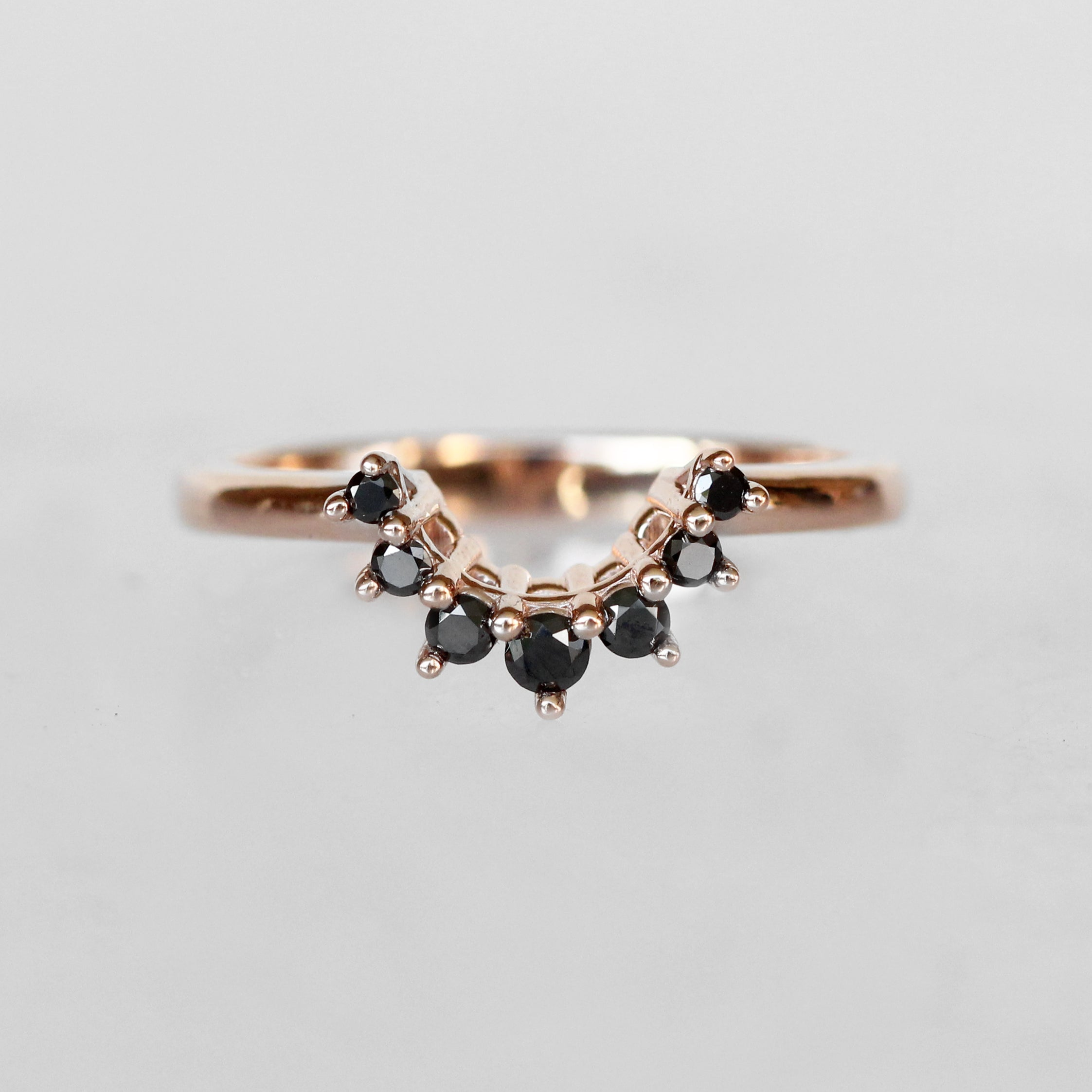 Ashlyn Ring with White Sapphire and Black Diamonds in 14k Gold - Midwinter Co. Alternative Bridal Rings and Modern Fine Jewelry