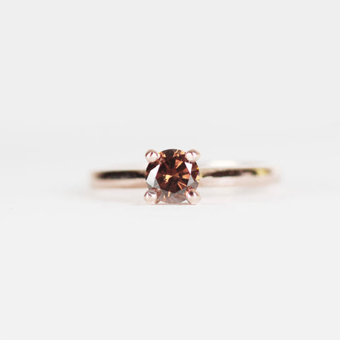 Charlie Ring with a cognac brown diamond in 14k rose gold - ready to size and ship