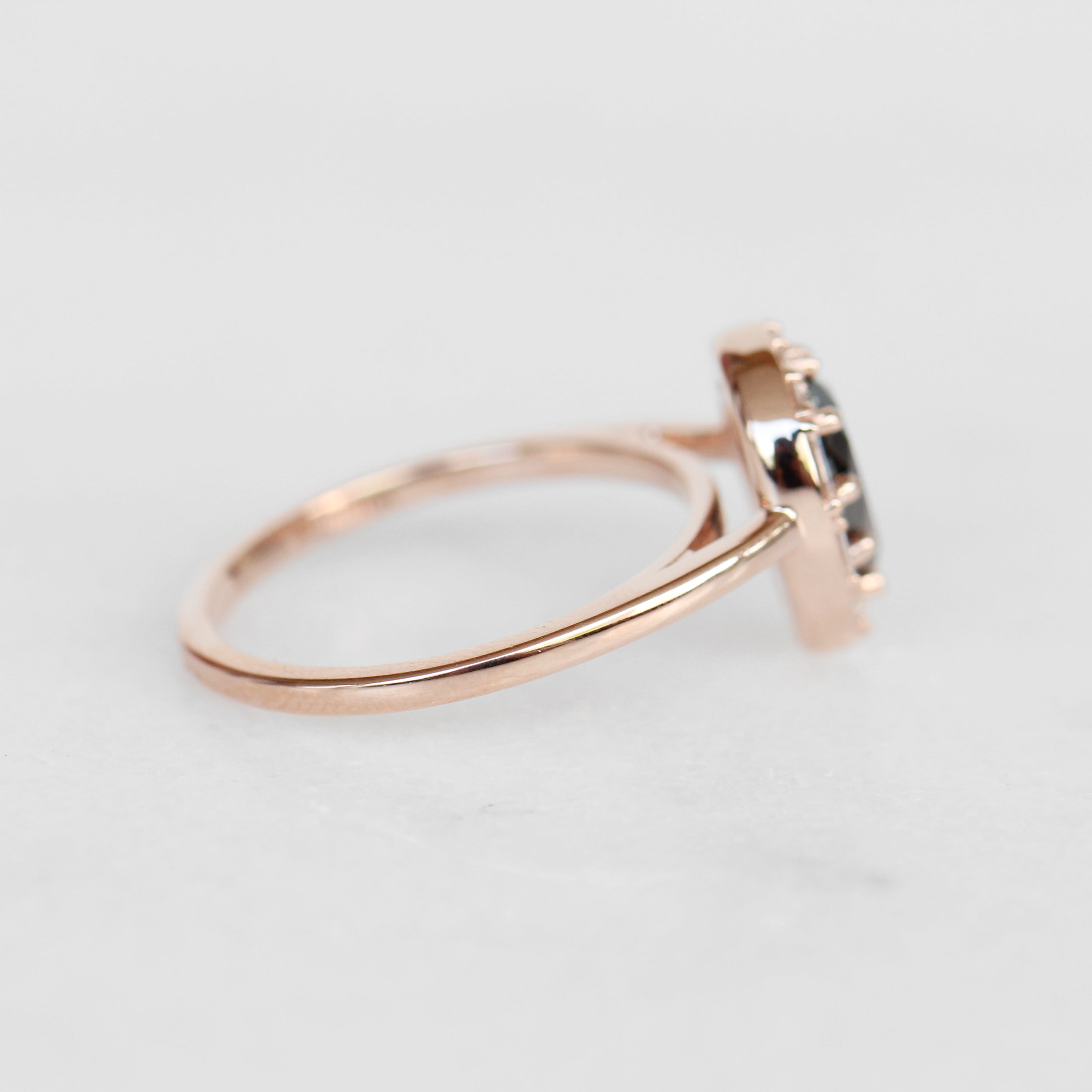 Collins ring with 1.12 carat natural brilliant pear celestial diamond in 10k rose gold - ready to size and ship - Salt & Pepper Celestial Diamond Engagement Rings and Wedding Bands  by Midwinter Co.