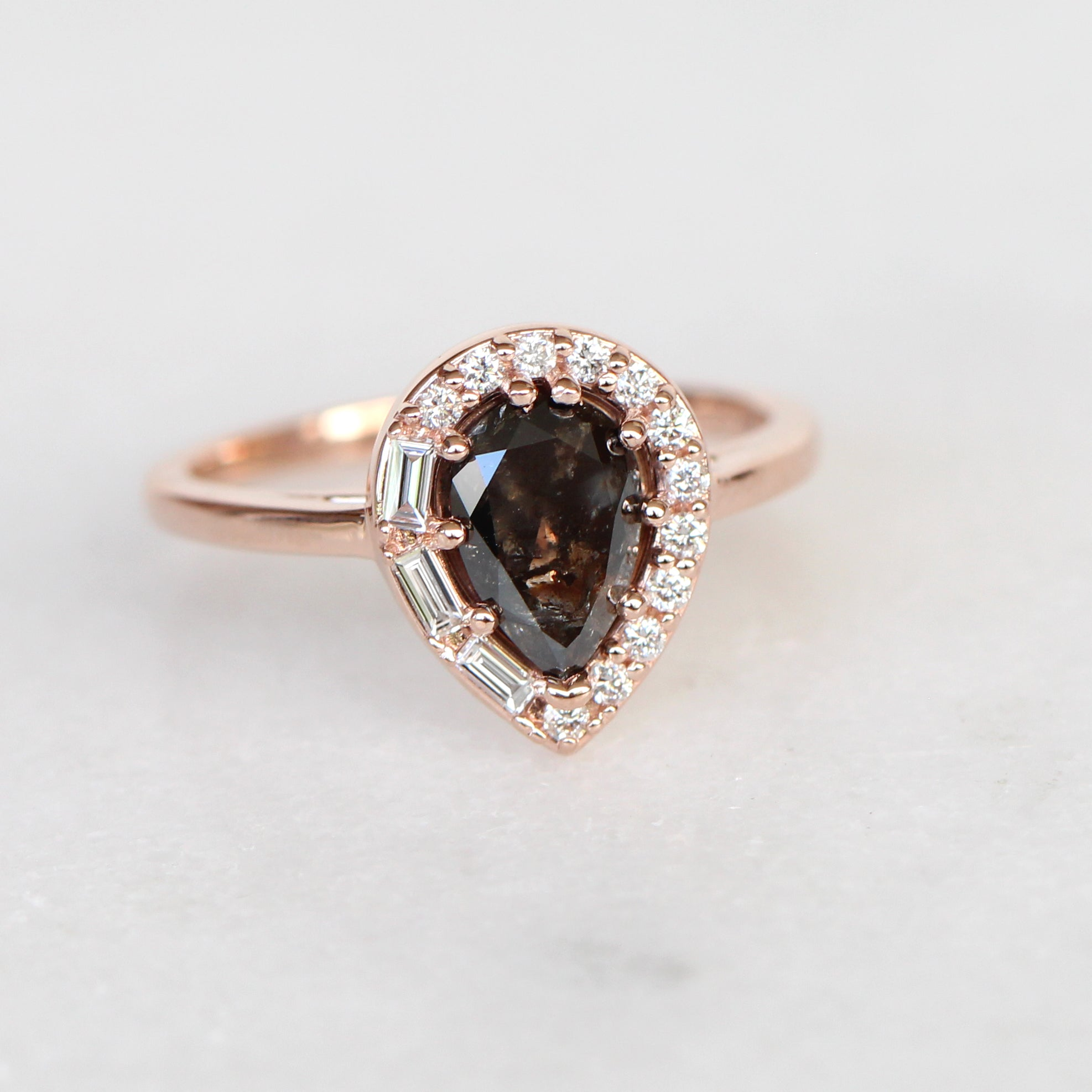 Collins ring with 1.12 carat natural brilliant pear celestial diamond in 10k rose gold - ready to size and ship - Celestial Diamonds ® by Midwinter Co.