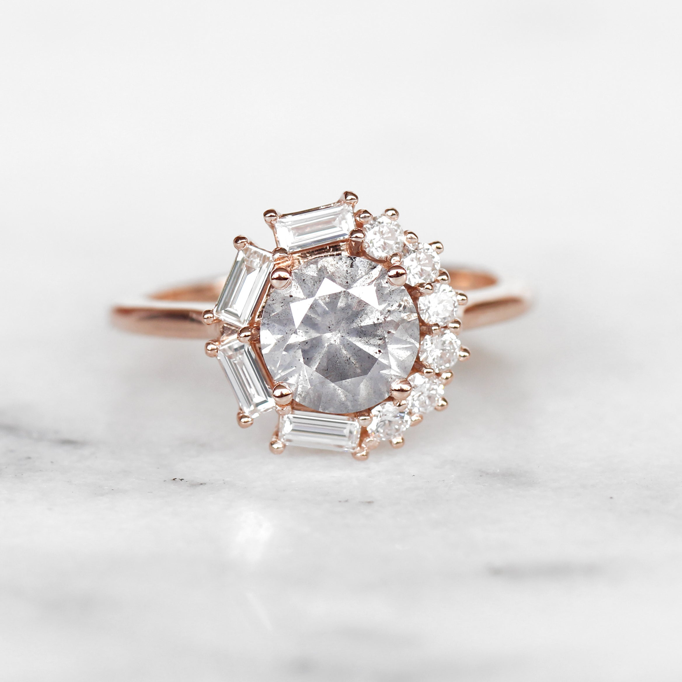 Collins ring with 1.40 carat brilliant round celestial diamond in 14k rose gold - ready to size and ship - Salt & Pepper Celestial Diamond Engagement Rings and Wedding Bands  by Midwinter Co.
