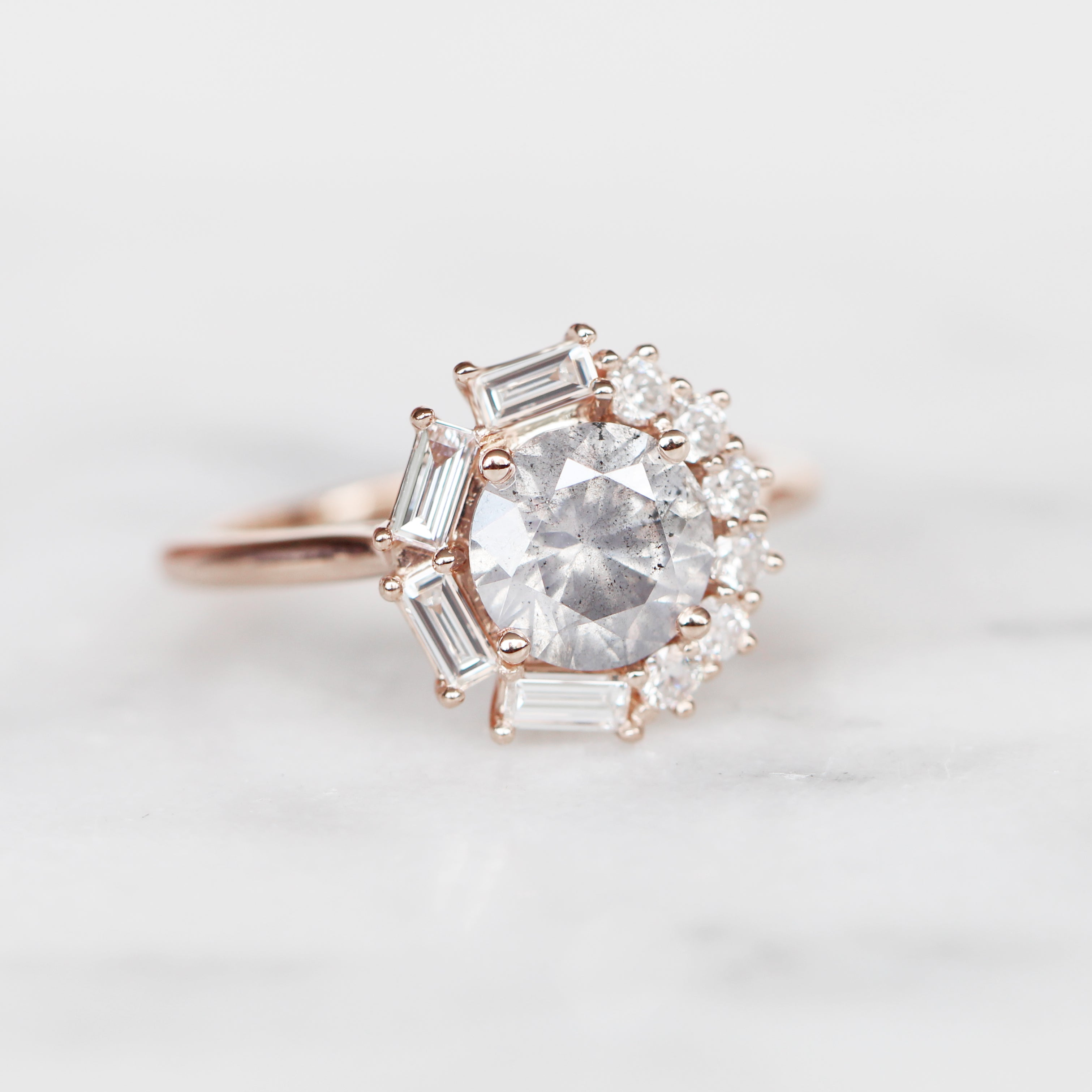 Collins ring with 1.40 carat brilliant round celestial diamond in 14k rose gold - ready to size and ship - Midwinter Co. Alternative Bridal Rings and Modern Fine Jewelry