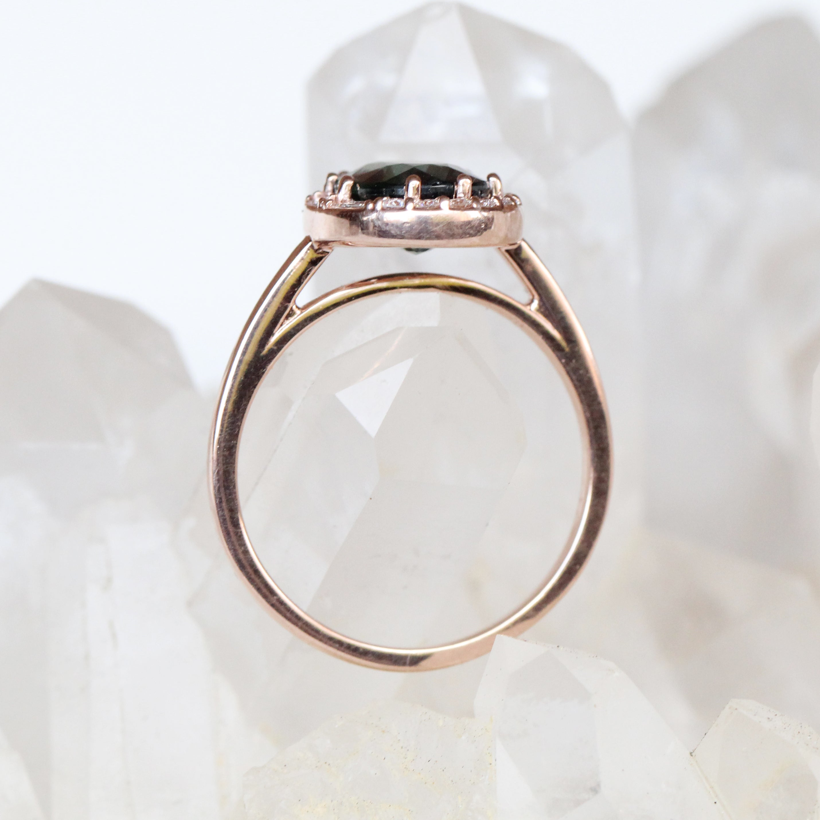 Collins Ring with a Teal Oval Sapphire in 10k Rose Gold - Ready to Size and Ship - Salt & Pepper Celestial Diamond Engagement Rings and Wedding Bands  by Midwinter Co.