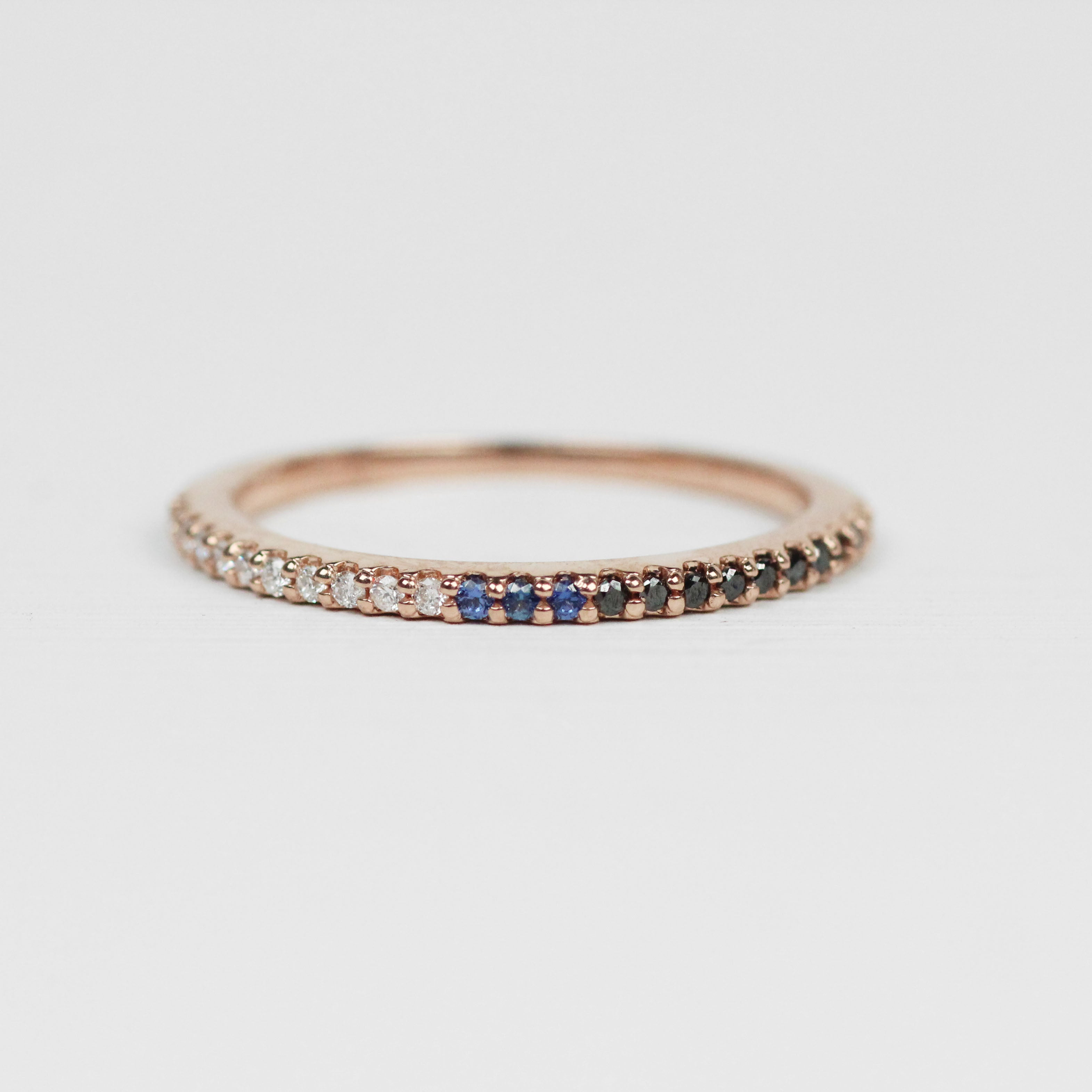 Multi-toned Constance - Pave set, minimal diamond wedding stacking band - Celestial Diamonds ® by Midwinter Co.