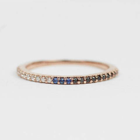 Multi-toned Constance - Pave set, minimal diamond wedding stacking band