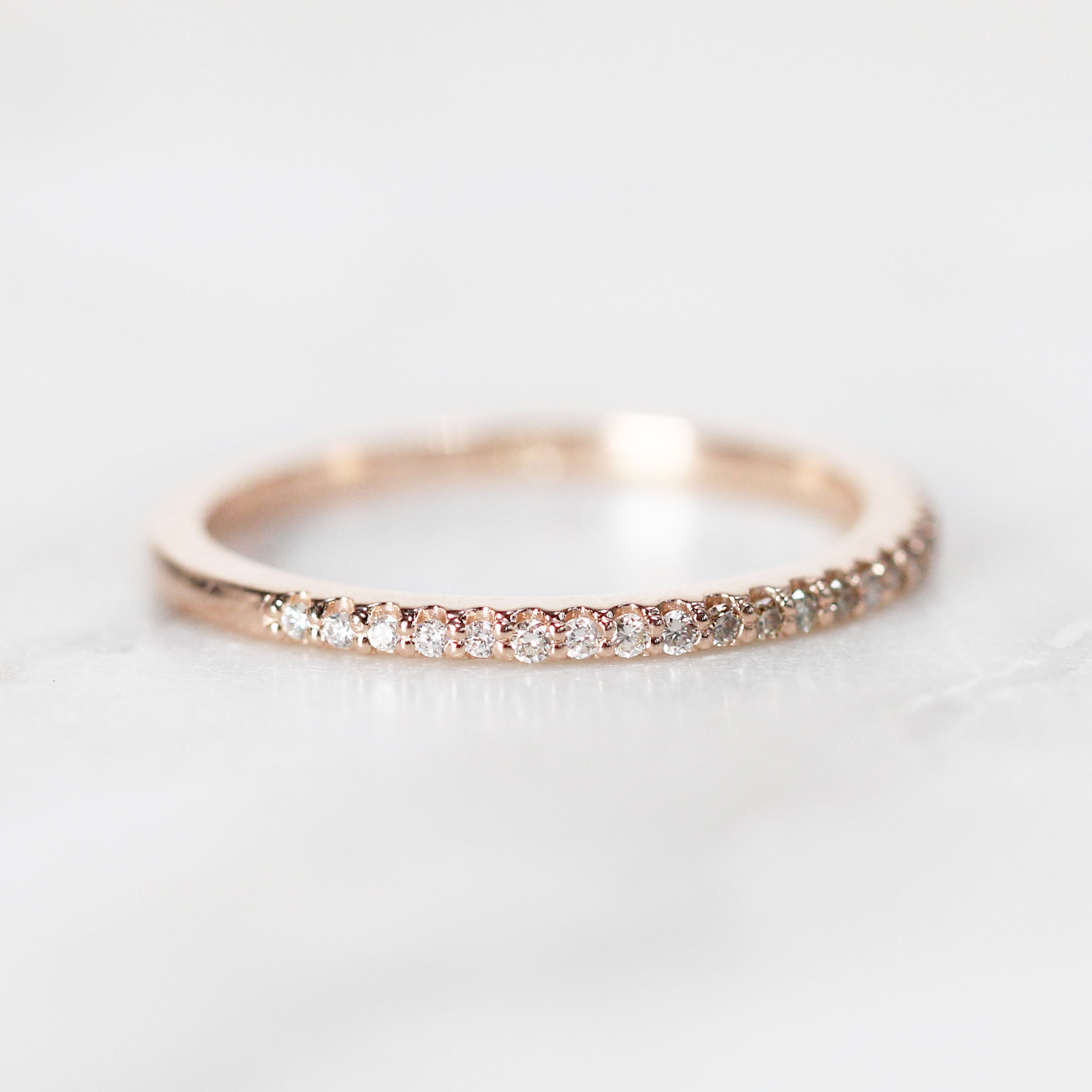 Constance - Pave set, minimal white to champagne to orange diamond wedding stacking band - Salt & Pepper Celestial Diamond Engagement Rings and Wedding Bands  by Midwinter Co.