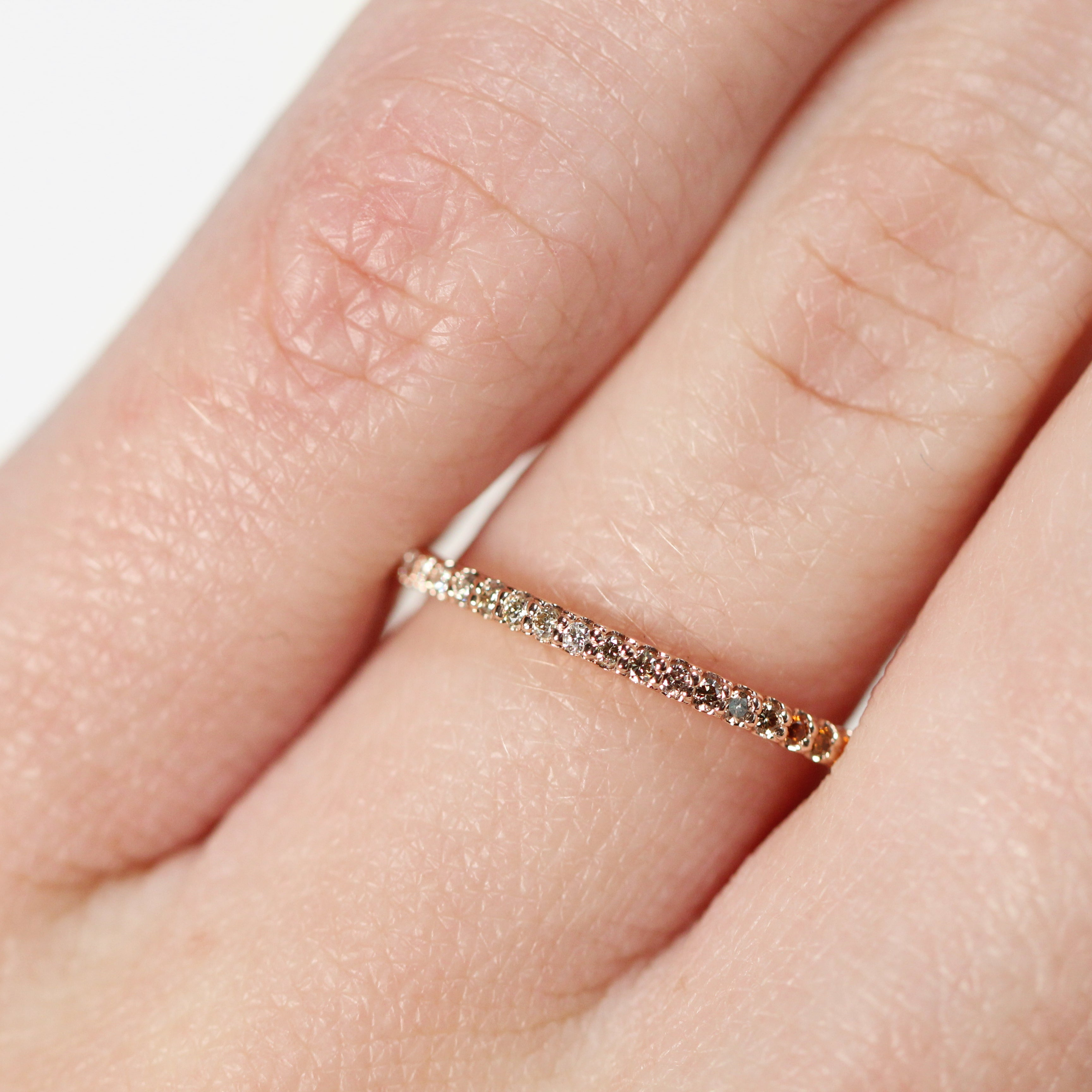 Constance - Pave set, minimal white to champagne to orange diamond wedding stacking band - Celestial Diamonds ® by Midwinter Co.