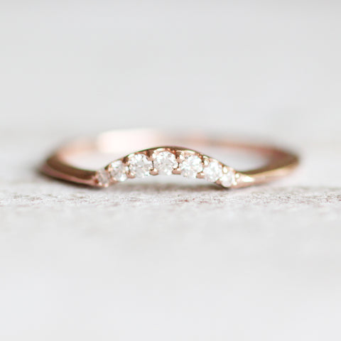Evary - Custom Designed Curved Diamond Wedding Stacking Band - made to order