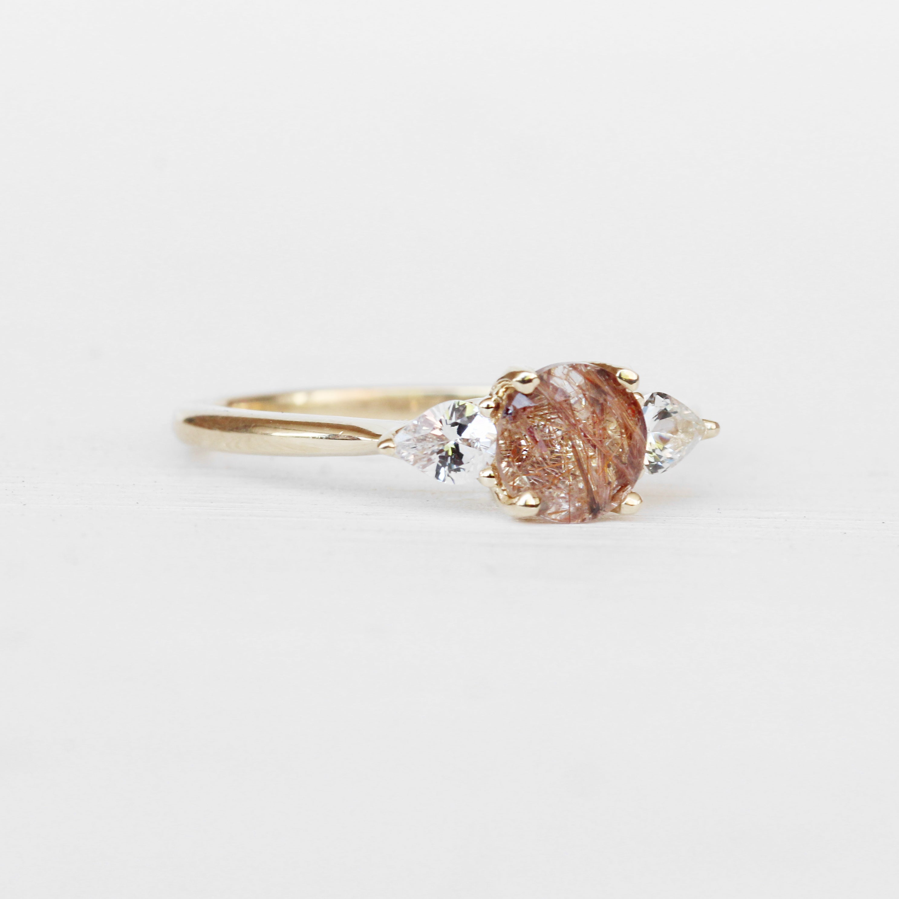 Oleander Ring with a Copper Rulitated Quartz and White Sapphires in 14k Yellow Gold - Ready to Size and Ship