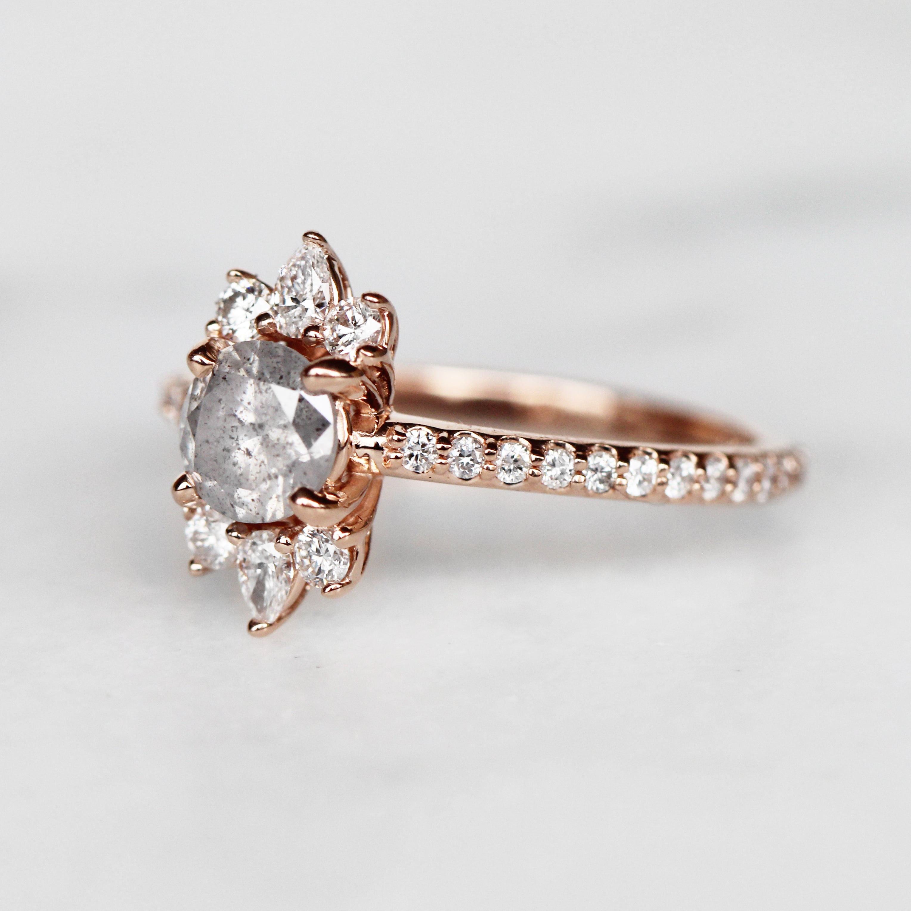 Cora Ring with .72 Carat Celestial Diamond in 10k Rose Gold - Ready to Size and Ship - Salt & Pepper Celestial Diamond Engagement Rings and Wedding Bands  by Midwinter Co.