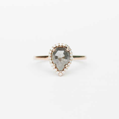 Coryn with unique misty gray geometric pear shaped diamond cast in 14k rose gold with white accent diamonds - ready to size and ship