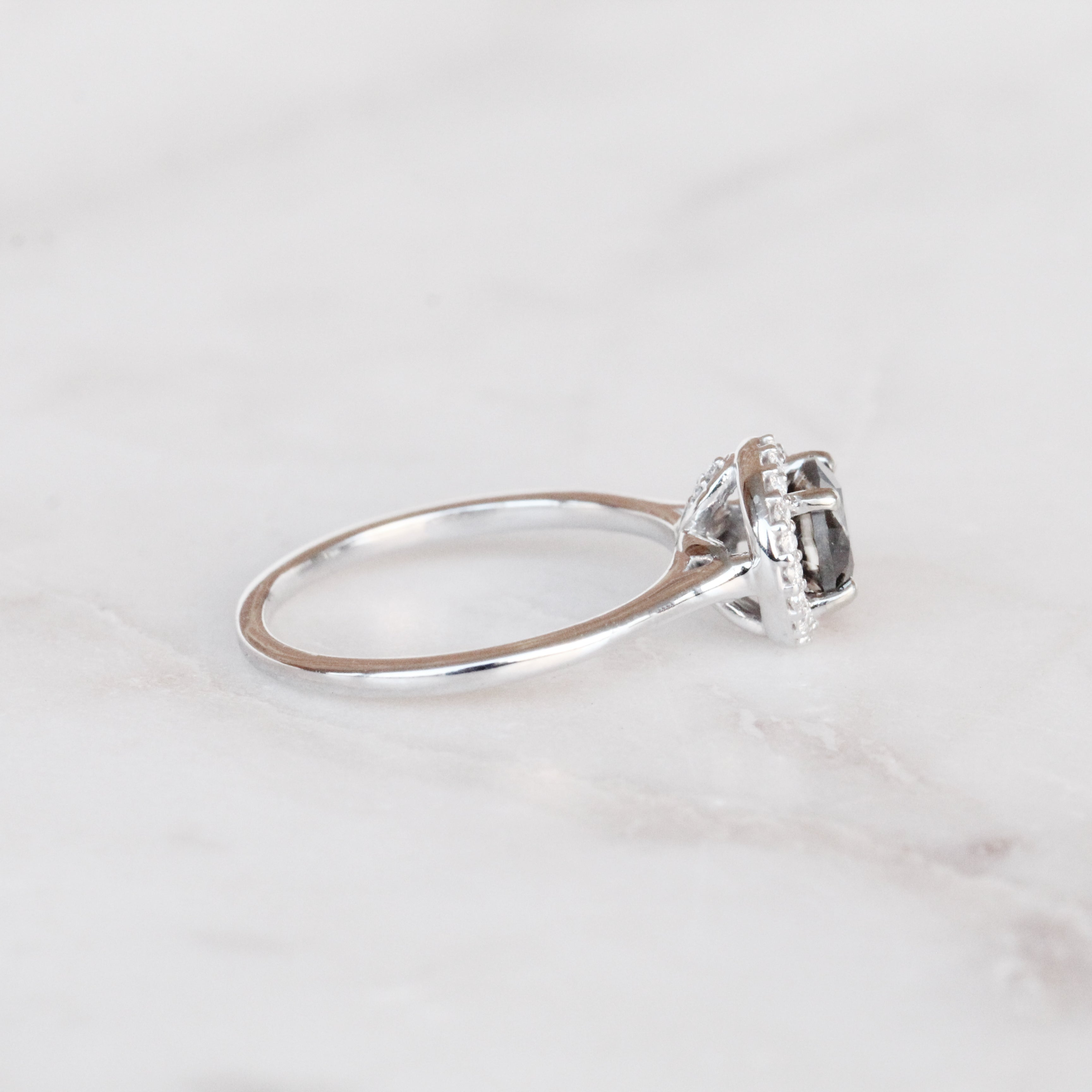 Coryn Ring with a 1.03 Carat Celestial Diamond and Clear Diamond Halo in 14k White Gold - Ready to Size and Ship - Salt & Pepper Celestial Diamond Engagement Rings and Wedding Bands  by Midwinter Co.