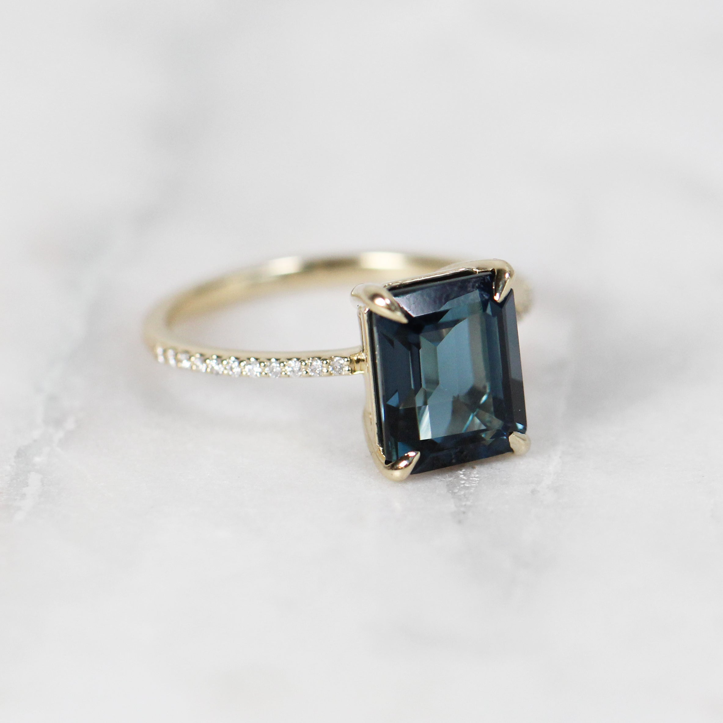 Mia Ring with 3.75ct London Blue Topaz Emerald Cut - Custom Made to Order - Salt & Pepper Celestial Diamond Engagement Rings and Wedding Bands  by Midwinter Co.