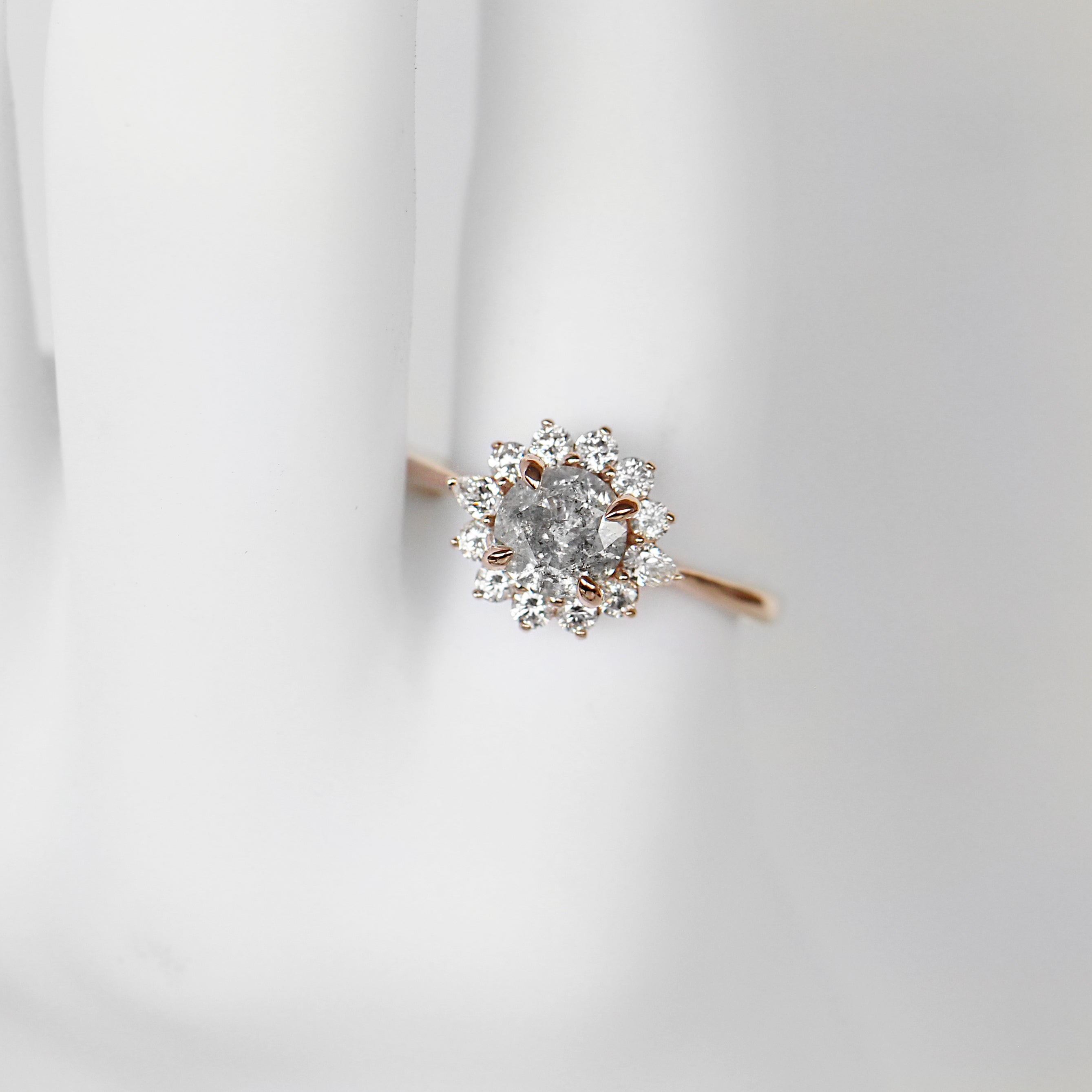 Dahlia Ring with .96 Carat Round Celestial Diamond in 10k Rose Gold - Ready to Size and Ship - Salt & Pepper Celestial Diamond Engagement Rings and Wedding Bands  by Midwinter Co.