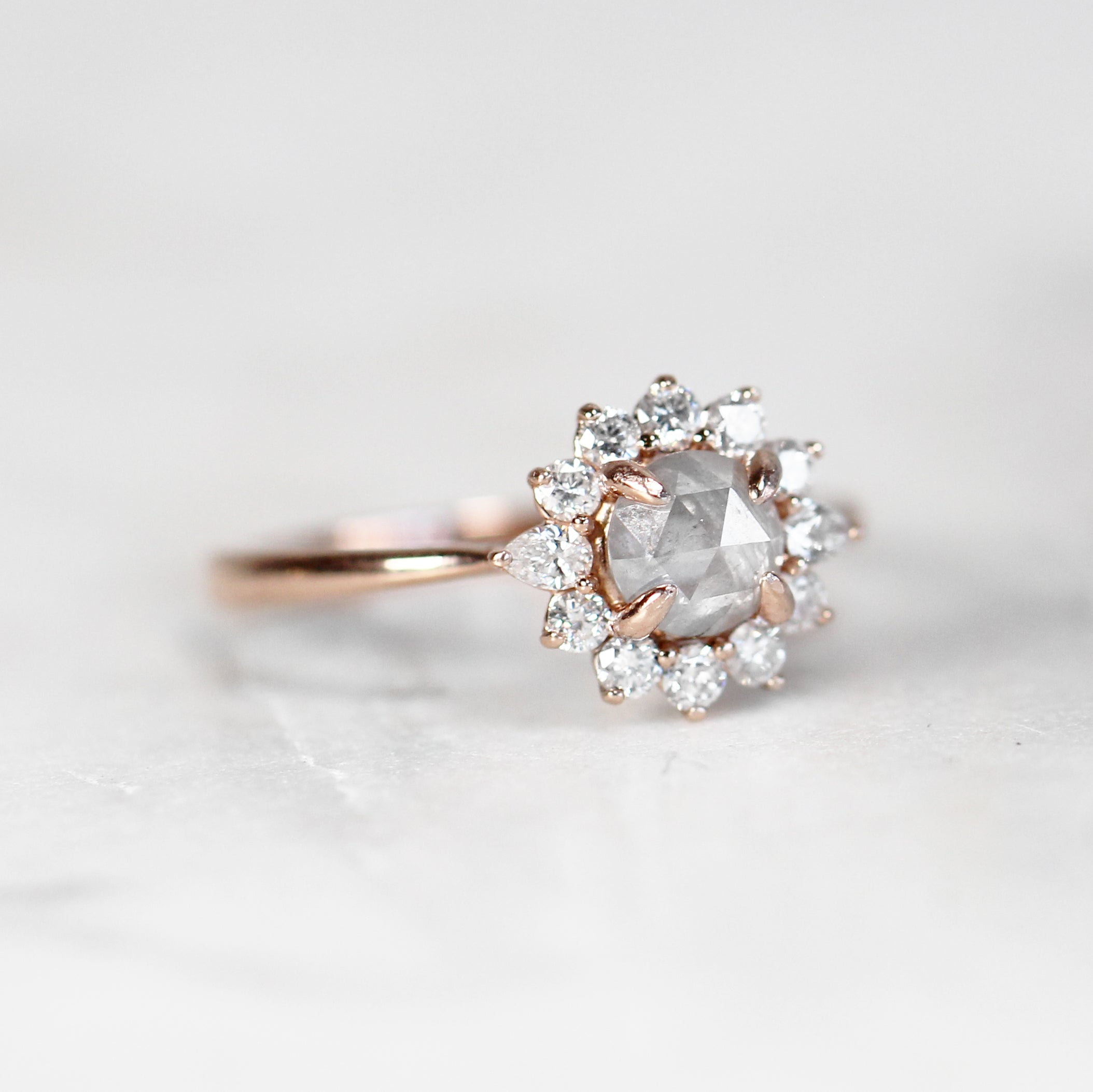 Samantha Dahlia Ring with .74 Carat Round Celestial Diamond in 10k Rose Gold - Celestial Diamonds ® by Midwinter Co.