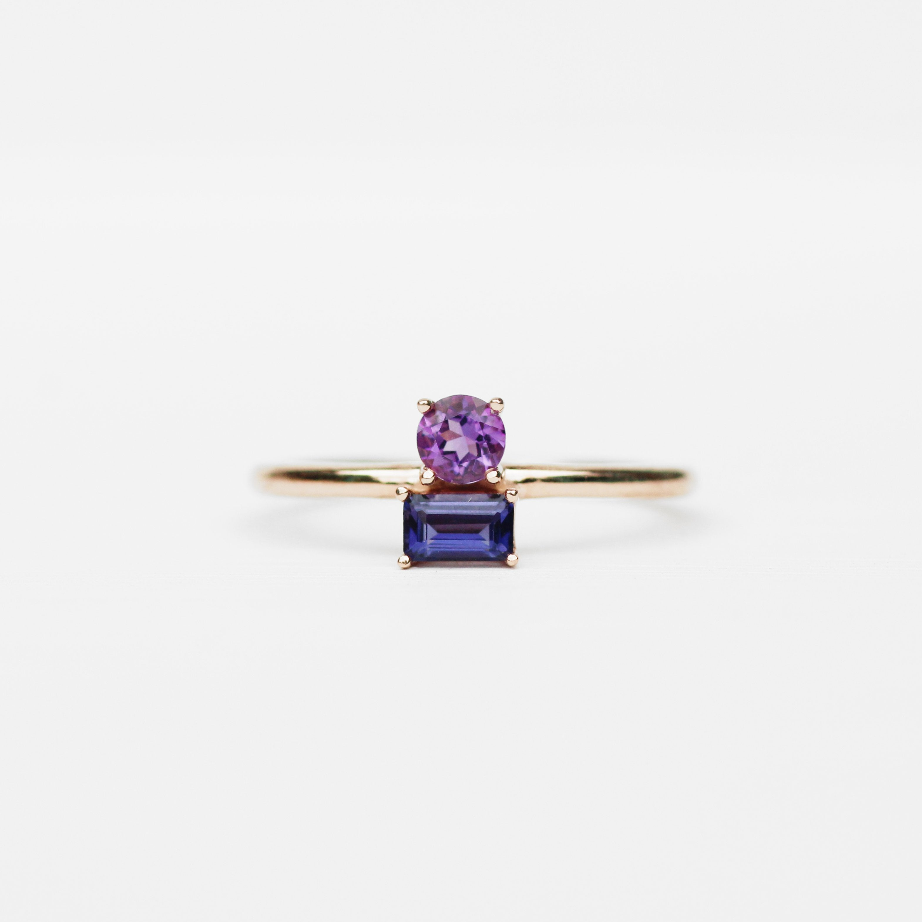 Darlina - Amethyst and Iolite Asymmetrical Double Ring - Your choice of metal - Custom - Salt & Pepper Celestial Diamond Engagement Rings and Wedding Bands  by Midwinter Co.