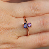 Darlina - Amythest and Iolite Asymmetrical Double Ring - Your choice of metal - Custom