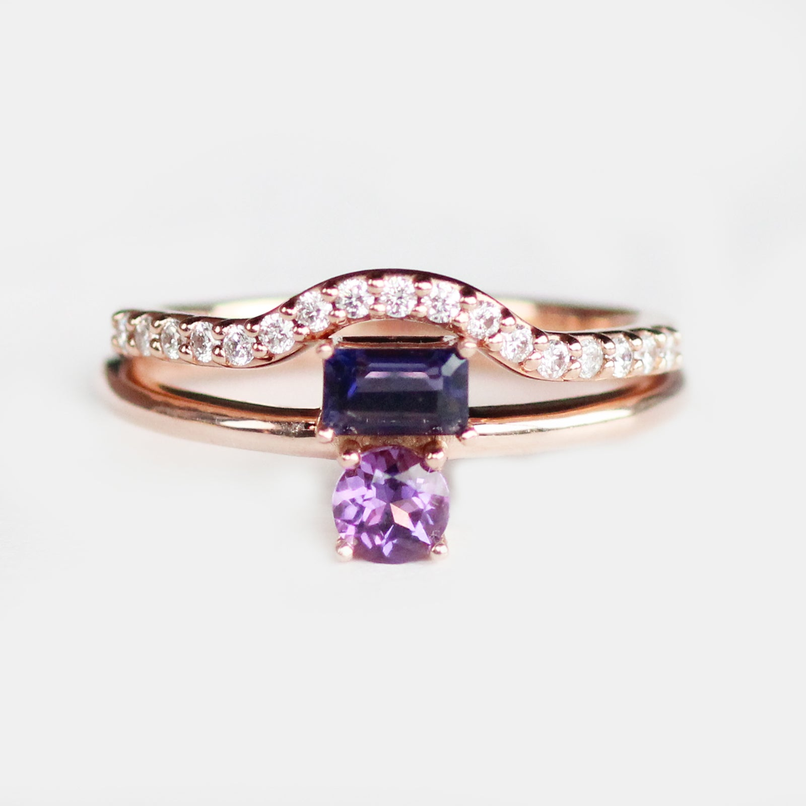 Darlina - Amethyst and Iolite Asymmetrical Double Ring - Your choice of metal - Custom - Celestial Diamonds ® by Midwinter Co.