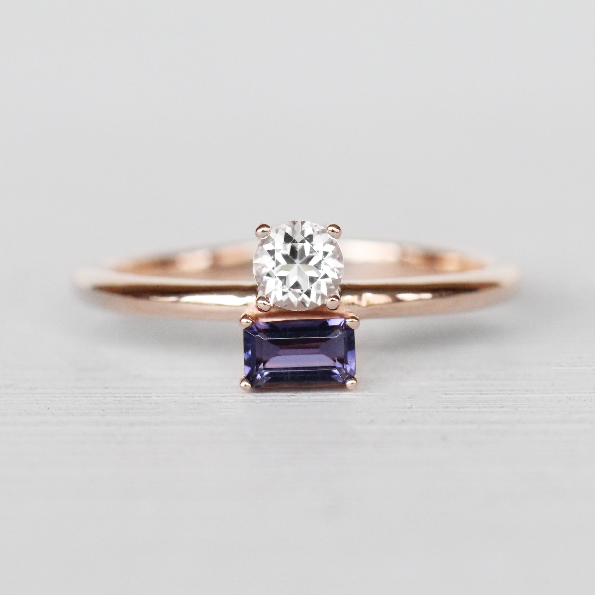 Darley Topaz and Iolite Asymmetrical Double Ring in 10k Rose Gold - Ready to Size and Ship - Celestial Diamonds ® by Midwinter Co.