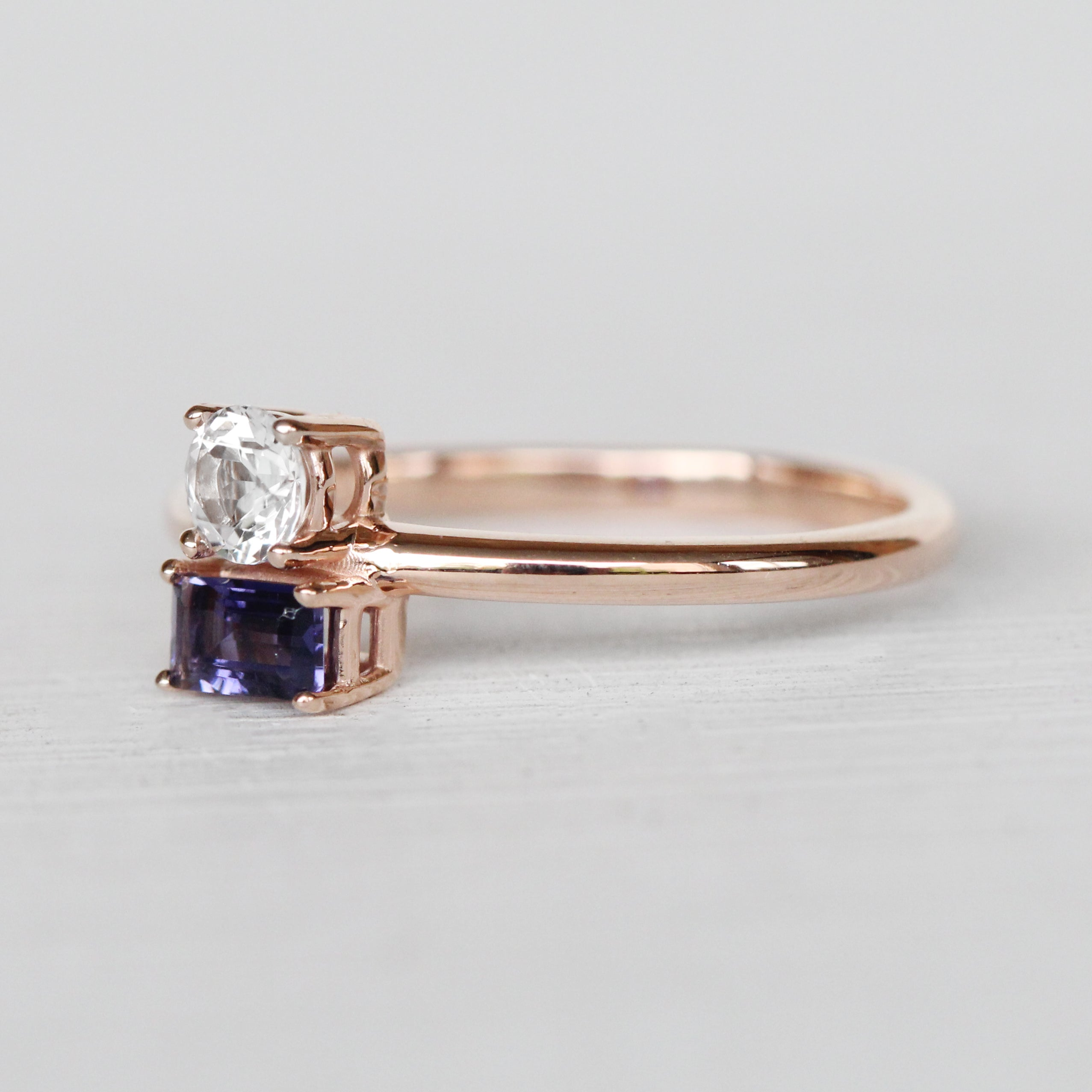 Darley Topaz and Iolite Asymmetrical Double Ring - Your choice of metal - Custom - Celestial Diamonds ® by Midwinter Co.