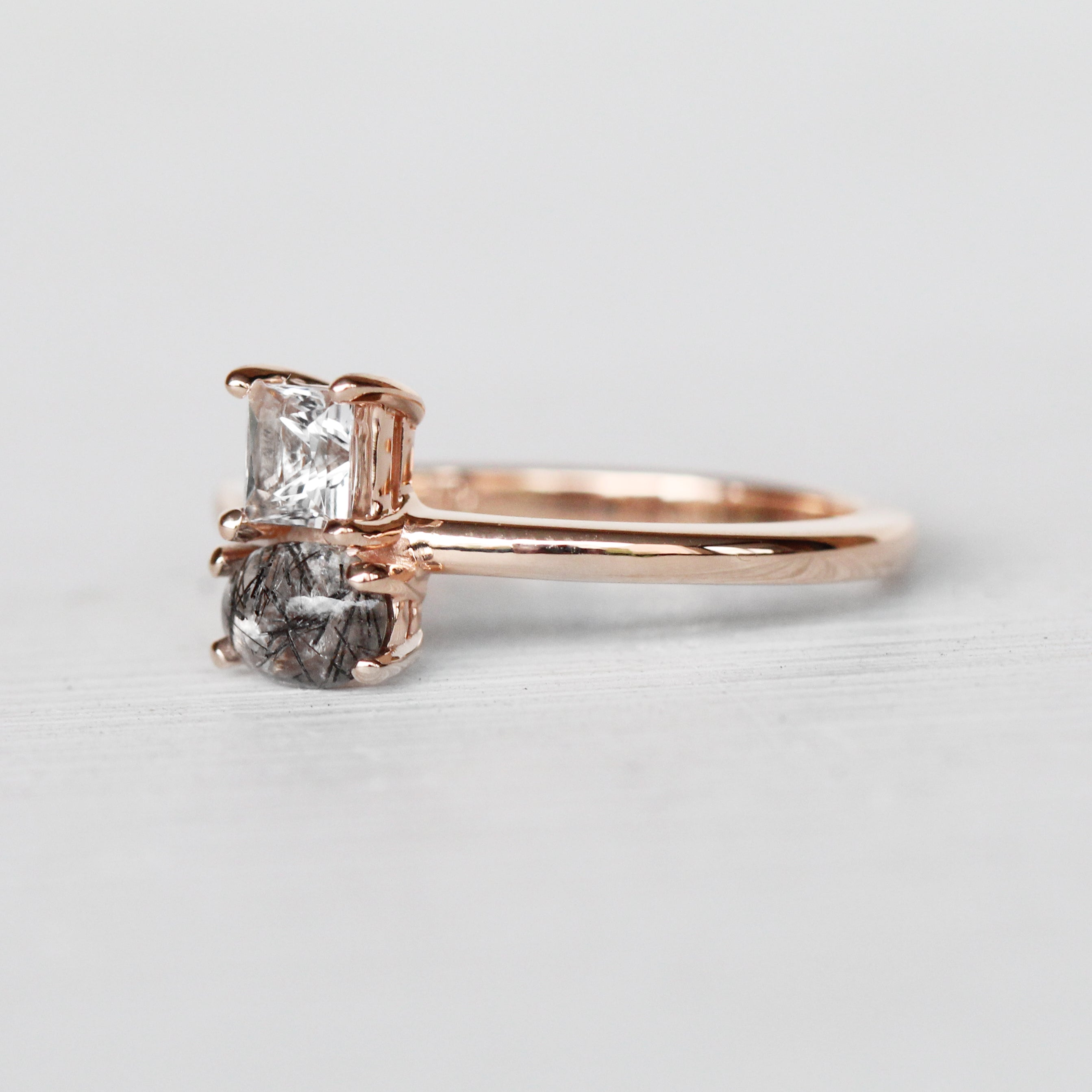 Eleadora Topaz + Tourmalinated Quartz Asymmetrical Double Ring in 10k Rose Gold - Ready to Size and Ship - Celestial Diamonds ® by Midwinter Co.