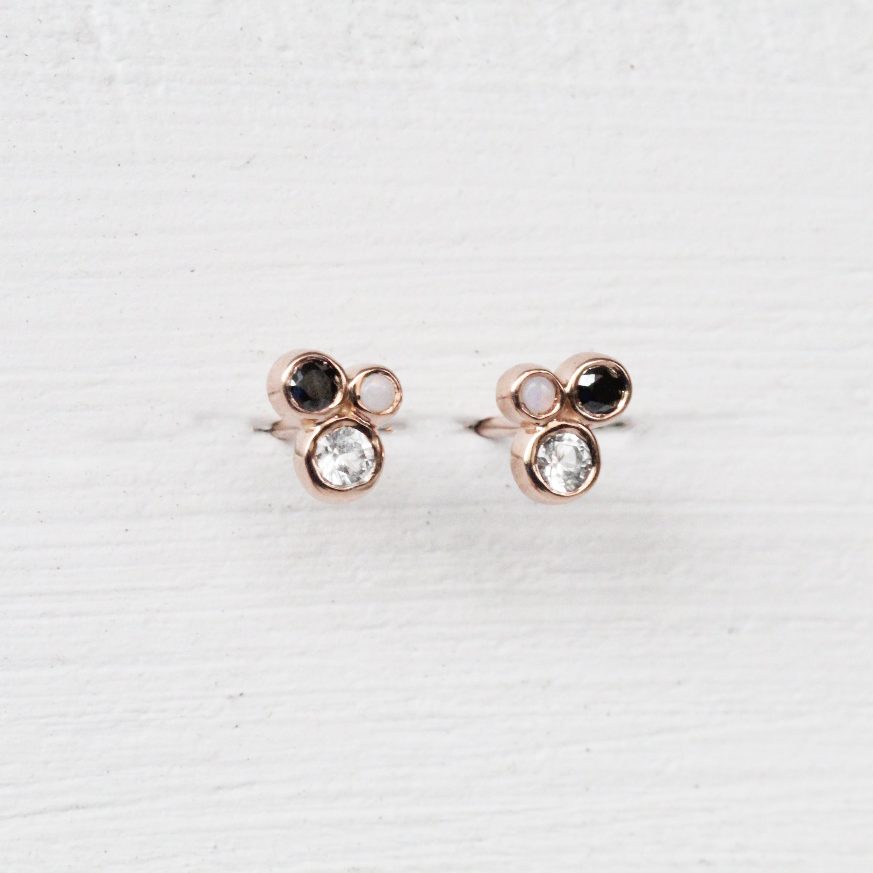 Demi Earrings with White Sapphire, Opal, and Black Diamond - 14k Gold - Made to Order - Salt & Pepper Celestial Diamond Engagement Rings and Wedding Bands  by Midwinter Co.