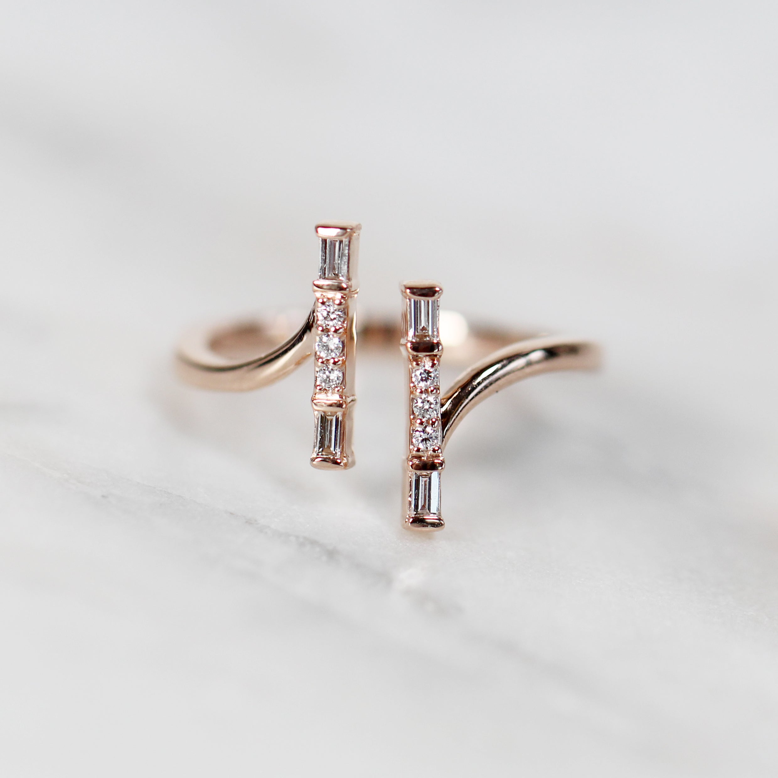 Denver Double Bar Ring - Your Choice of 14k Gold - Salt & Pepper Celestial Diamond Engagement Rings and Wedding Bands  by Midwinter Co.