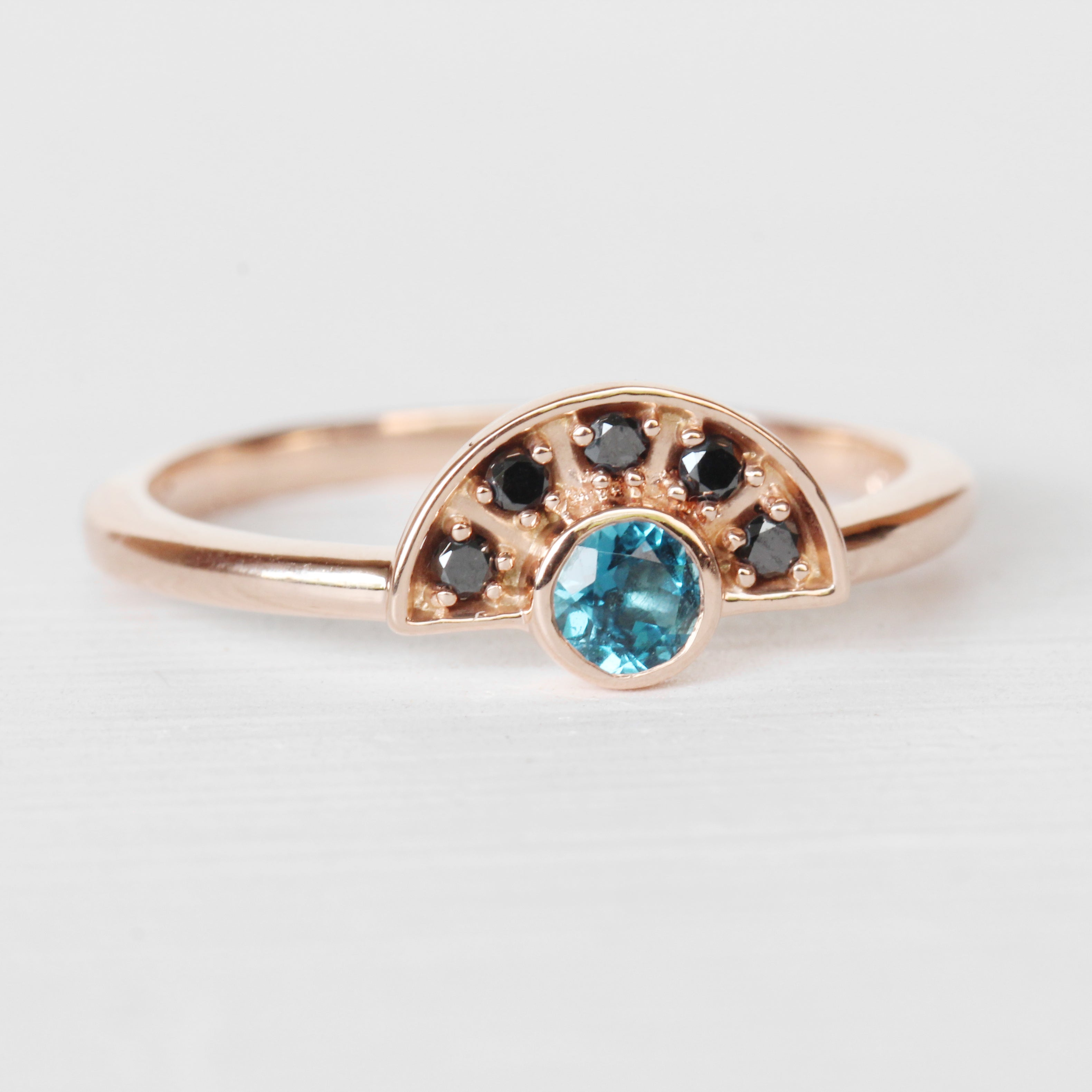 Dottie London Blue Topaz + Black Diamond Stackable or Wedding Ring - Your choice of metal - Custom - Midwinter Co. Alternative Bridal Rings and Modern Fine Jewelry