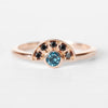 Dottie London Blue Topaz + Black Diamond Stackable or Wedding Ring - Your choice of metal - Custom