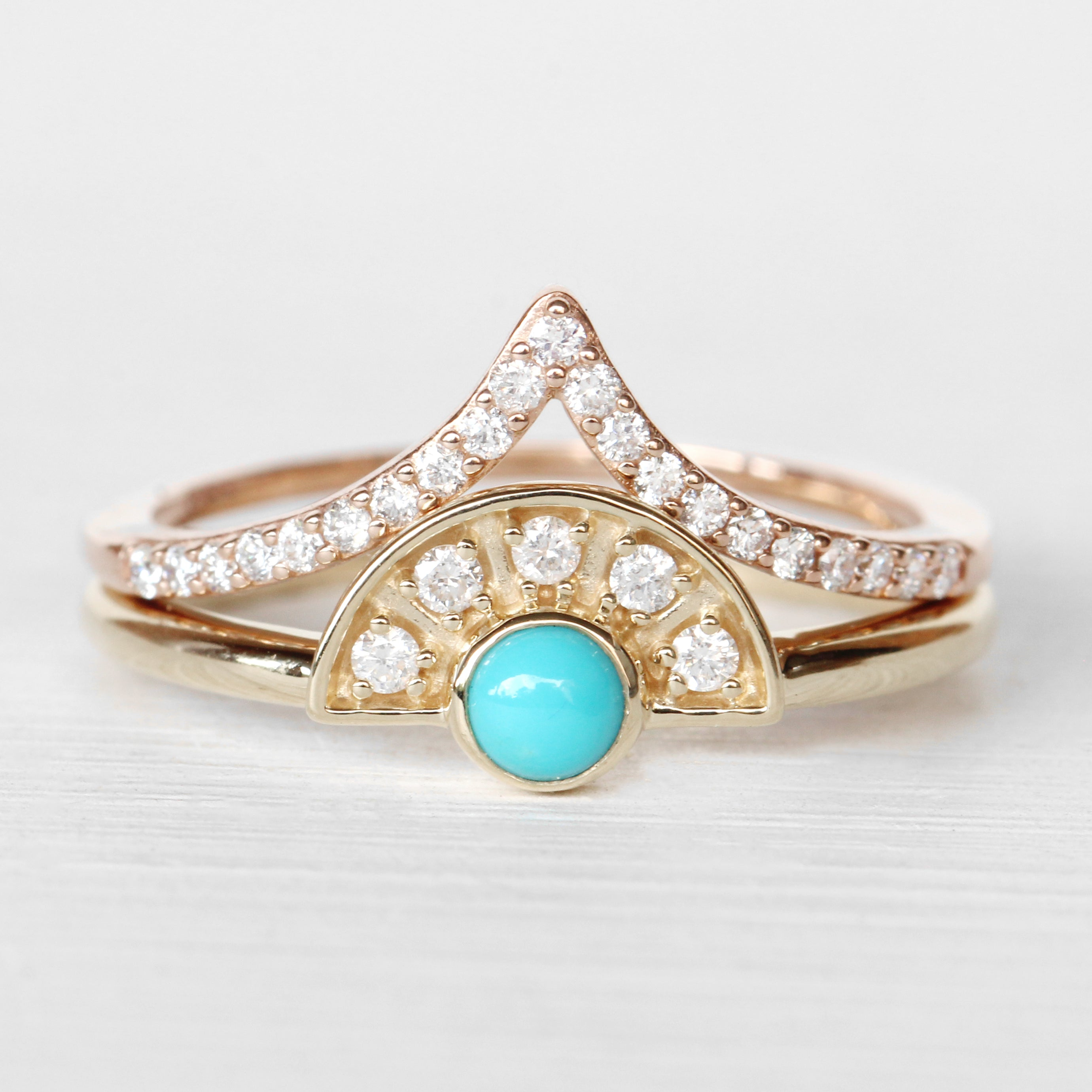 Dottie Turquoise + Diamond Stackable or Wedding Ring - Your choice of metal - Custom - Salt & Pepper Celestial Diamond Engagement Rings and Wedding Bands  by Midwinter Co.