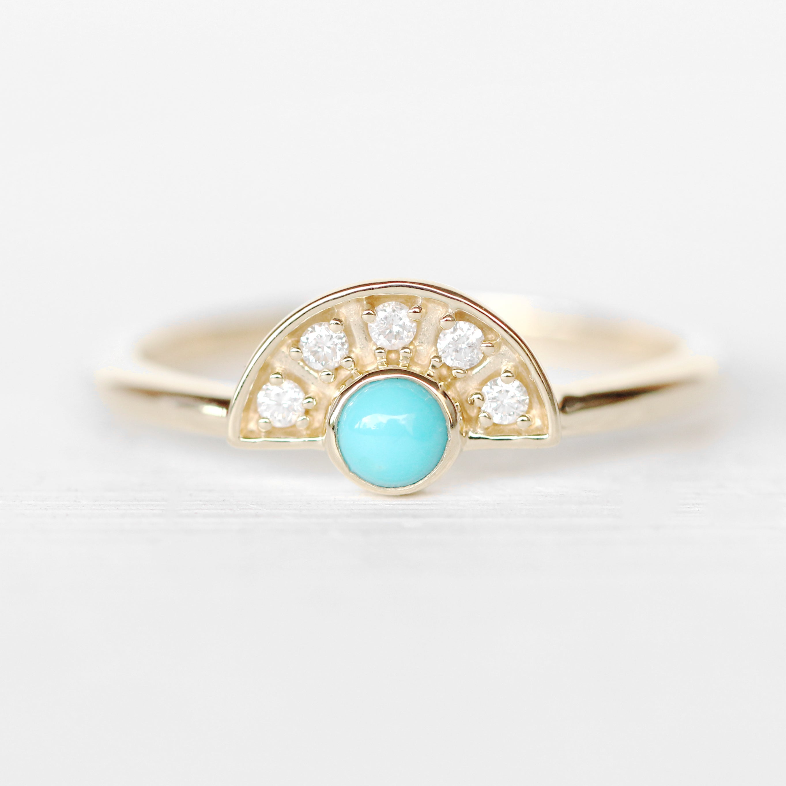 Dottie Turquoise + Diamond Stackable or Wedding Ring - Your choice of metal - Custom