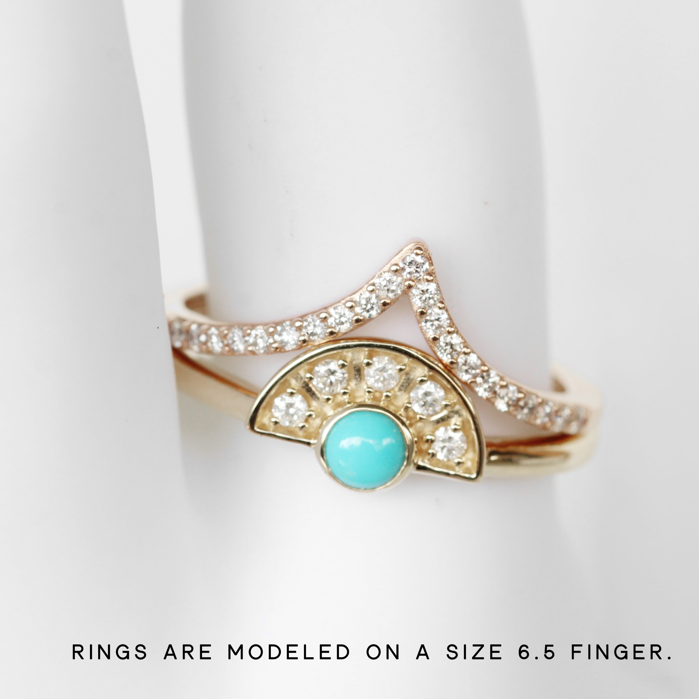 Dottie Turquoise + Diamond Stackable or Wedding Ring - Your choice of metal - Custom - Celestial Diamonds ® by Midwinter Co.