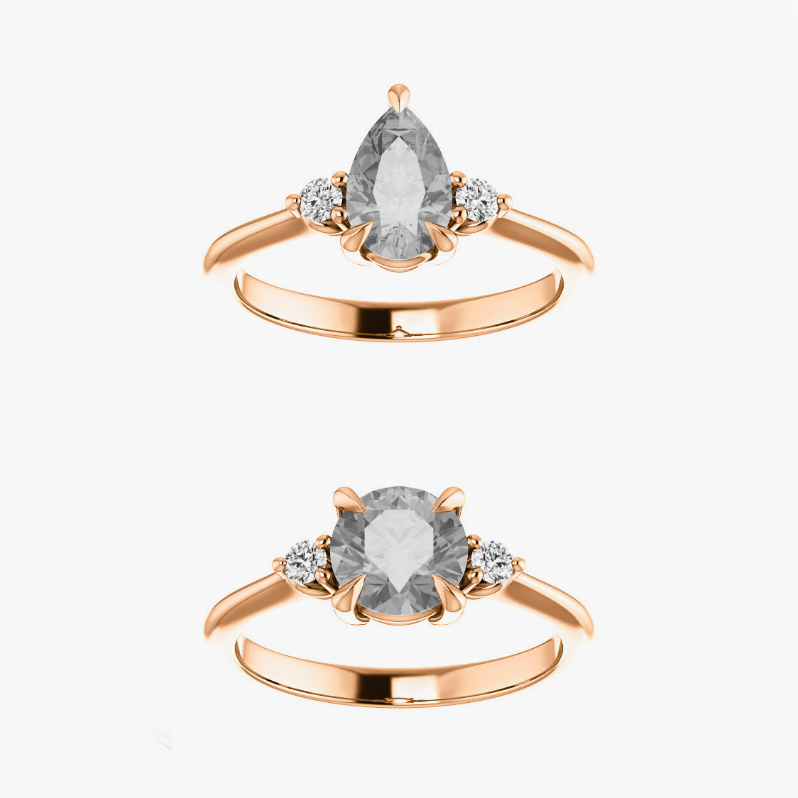 Drea Setting - Salt & Pepper Celestial Diamond Engagement Rings and Wedding Bands  by Midwinter Co.