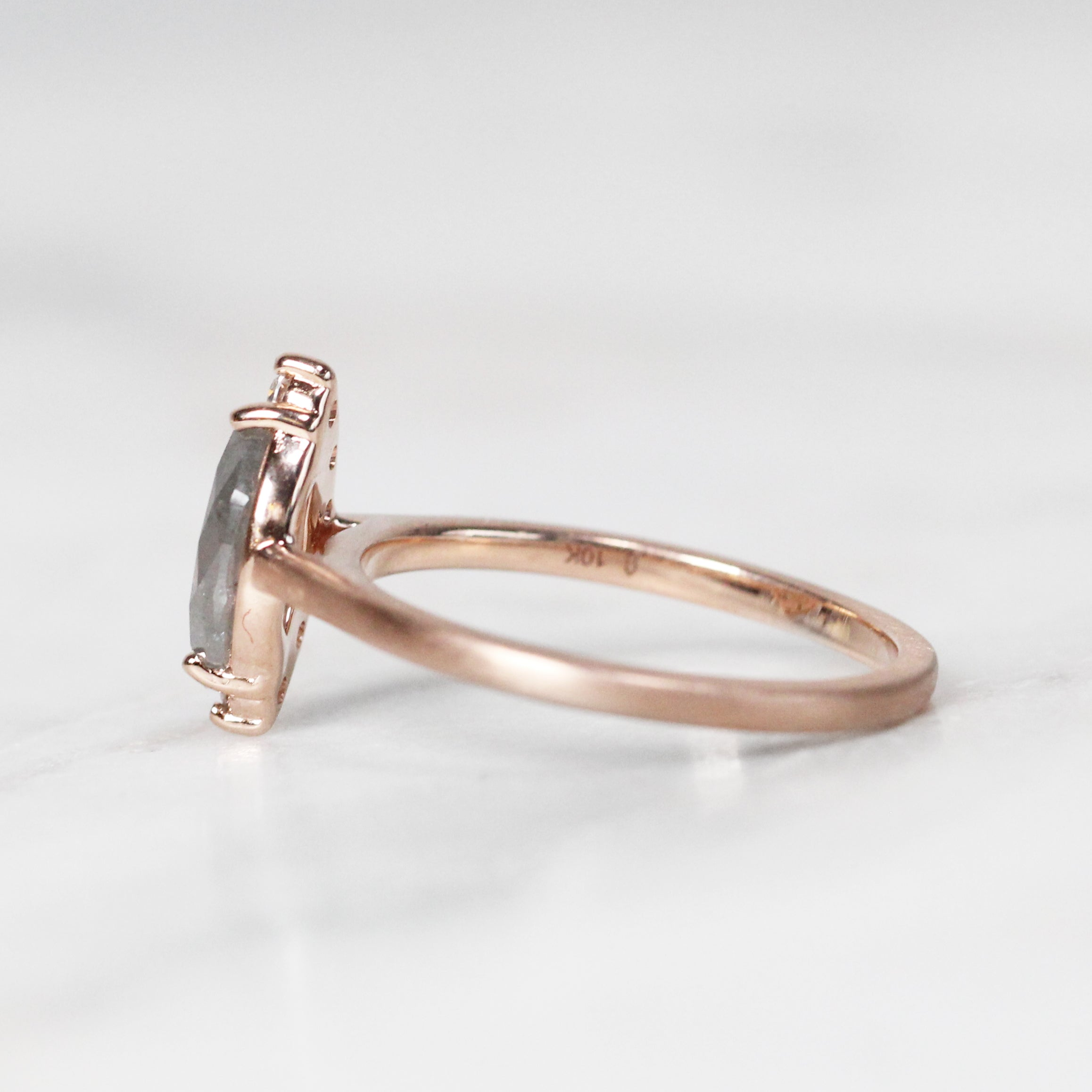 Andrue Ring with .80 Carat Marquise Celestial Diamond in 10k Rose Gold- Ready to Size and Ship - Salt & Pepper Celestial Diamond Engagement Rings and Wedding Bands  by Midwinter Co.