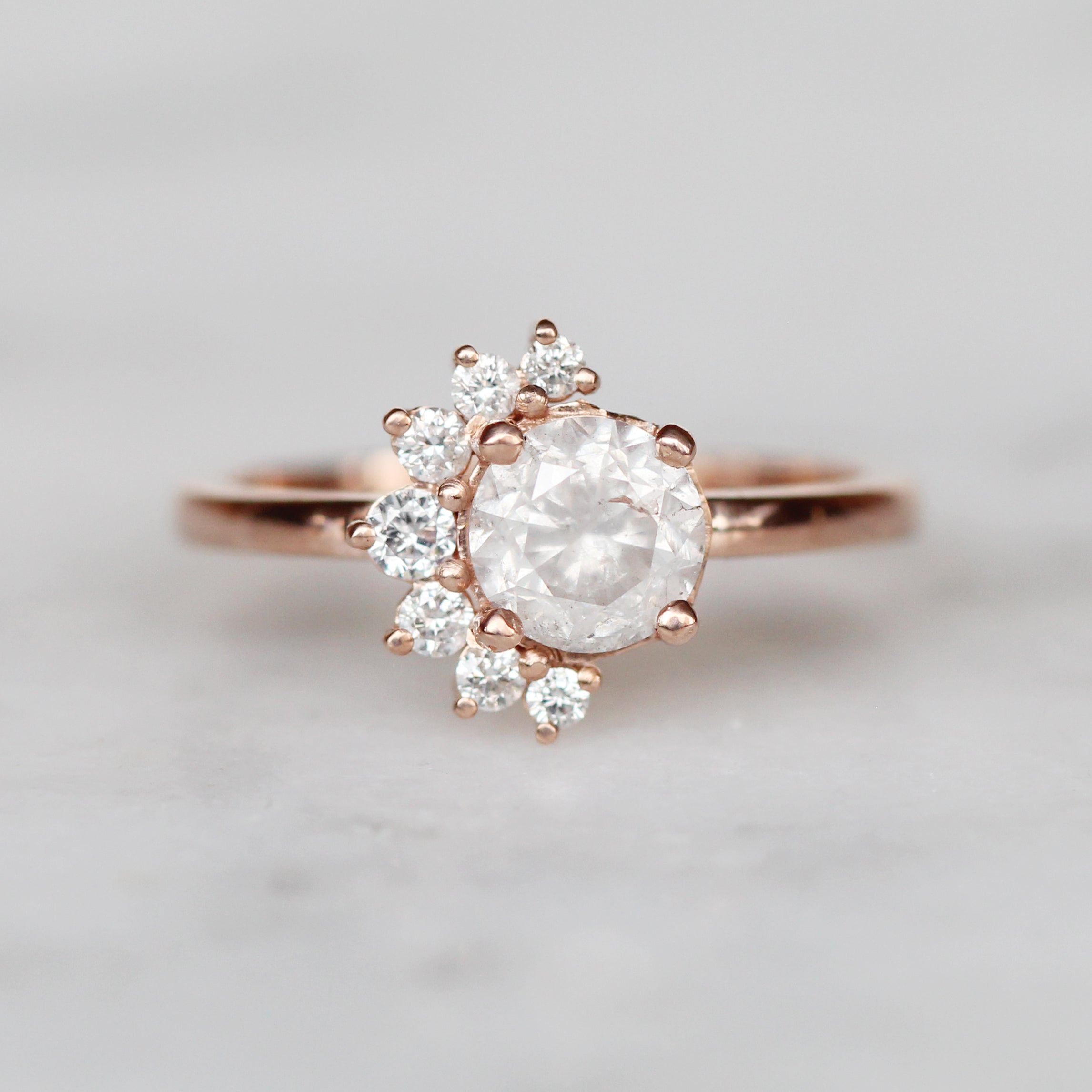 Drew Ring with 1.12 carat misty white diamond and white diamonds in 10k rose gold - ready to size and ship - Celestial Diamonds ® by Midwinter Co.