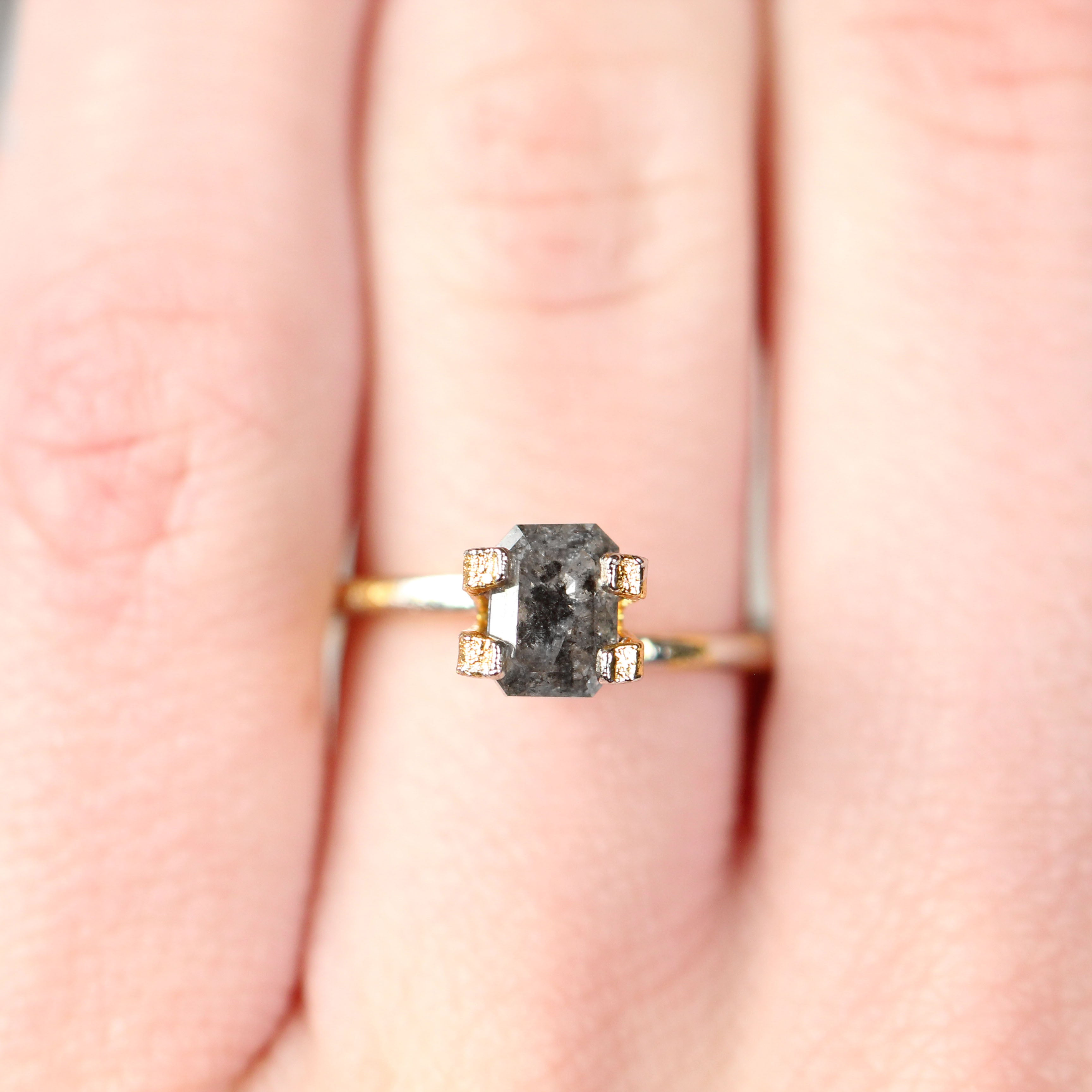.94 Carat Emerald Cut Celestial Diamond for Custom Work - Inventory Code EBG94 - Salt & Pepper Celestial Diamond Engagement Rings and Wedding Bands  by Midwinter Co.